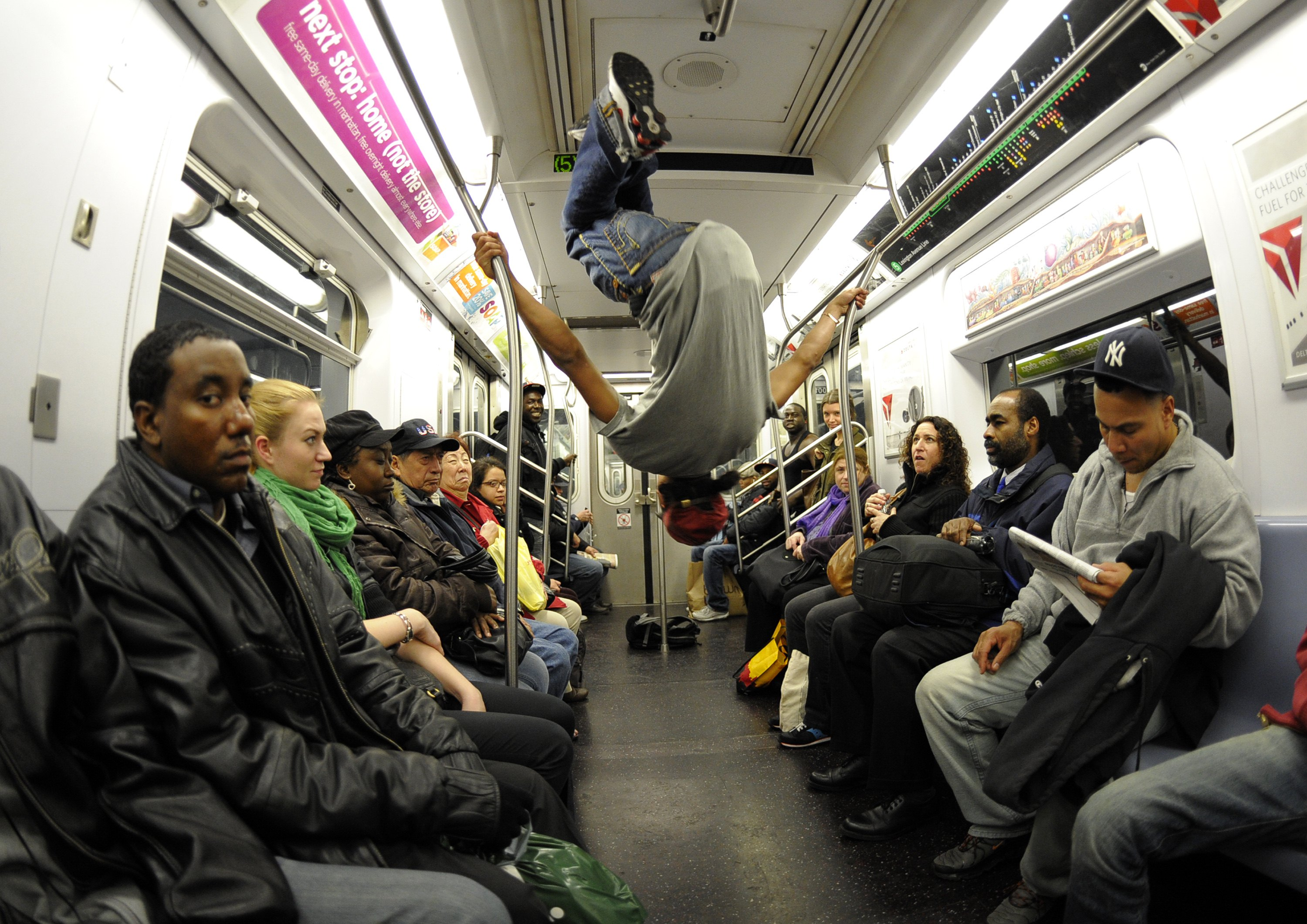 New York City subway dancer Marcus Walden (Mr. Wiggles) performs with other members of his crew on Nov. 23, 2010