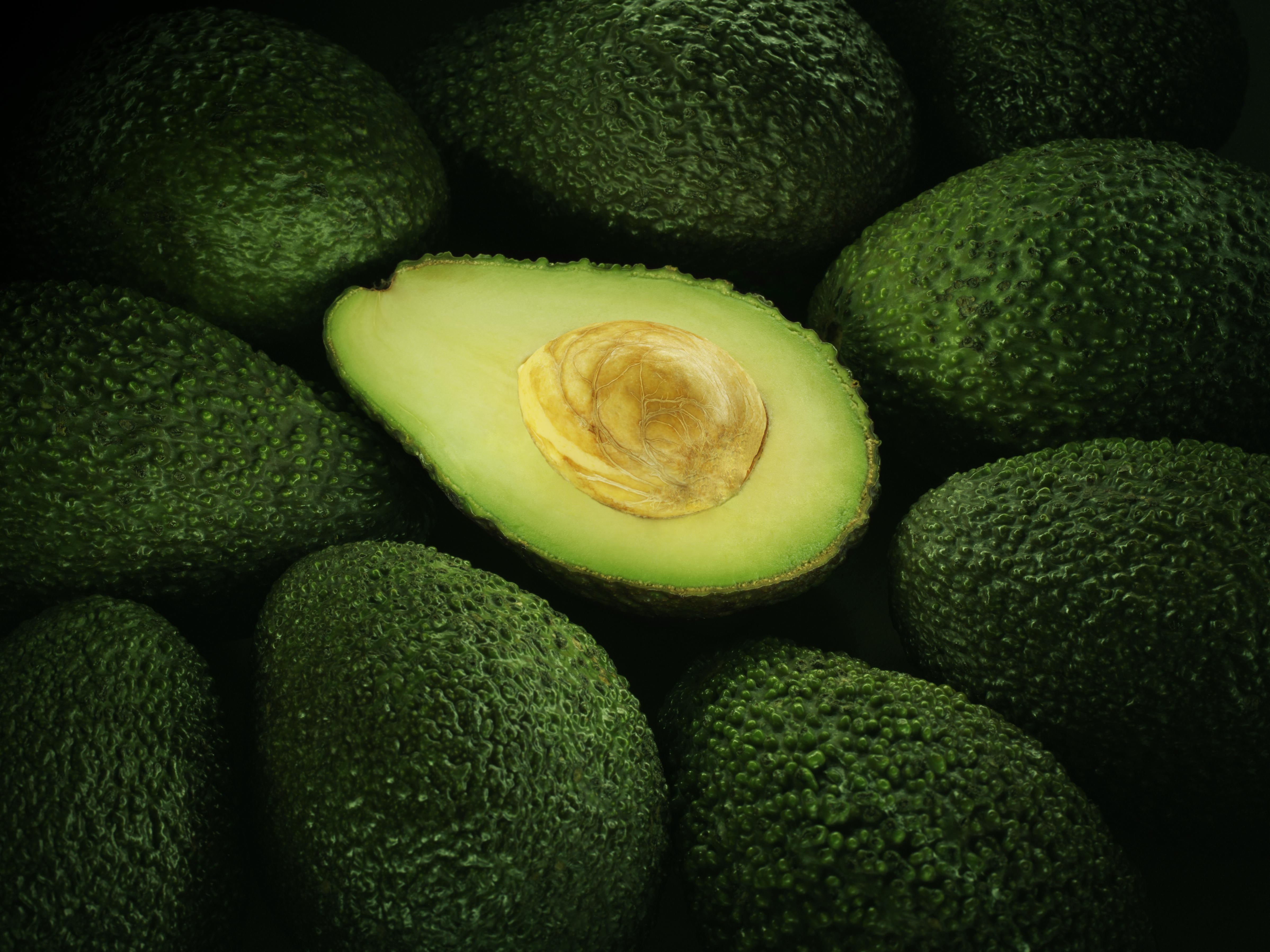 Cross section of ripe avocado