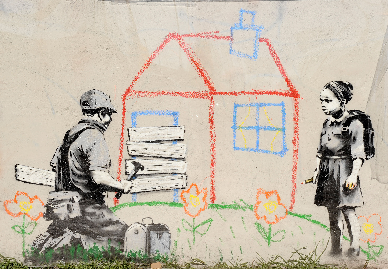 A new artwork,  Crayon Foreclosure,  attributed to guerrilla graffiti artist Banksy