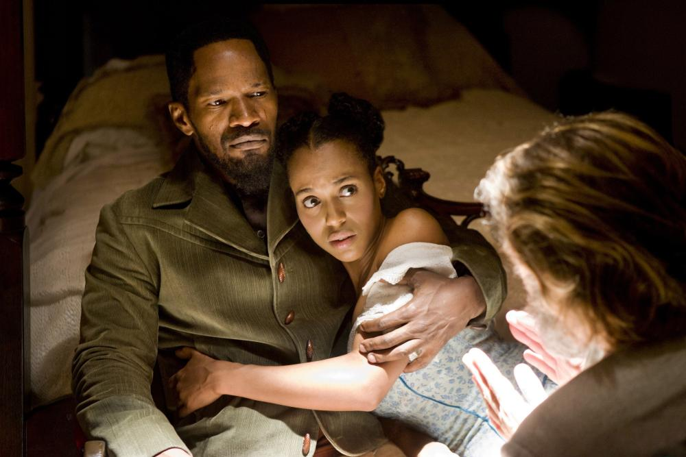 """<b><i>Django Unchained</i>, 2012:</b> Washington stars as the German-speaking damsel in distress in this Quentin Tarantino movie. Her character, Broomhilda von Shaft, is bought by """"Monsieur"""" Calvin J. Candie (Leonardo DiCaprio) and must be saved by her husband, Django (Jamie Foxx) and his fellow bounty hunger, Dr. King Schultz (Christoph Waltz)."""