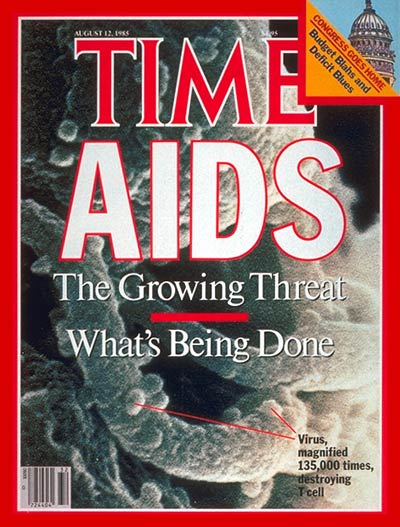 Aug 12, 1985                               While researchers understand more about the disease, infections spread  quickly. But awareness about the disease is also growing; actor Rock Hudson comes forward with his illness,  two weeks before TIME's issue is published,  finally catapult[ing] AIDS out of the closet.  But for the growing number of patients, primarily gay men in their 20s with the virus, it's a death sentence.