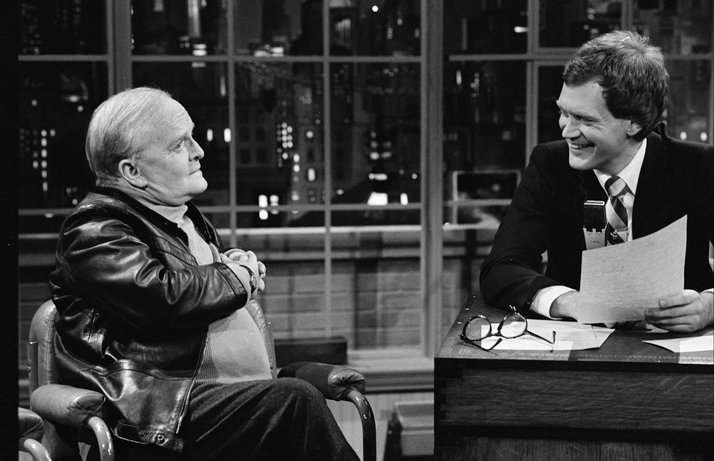 In 1980, Letterman finally got his own morning comedy show, <i>The David Letterman Show</i>. Above, he is seen interviewing Truman Capote.