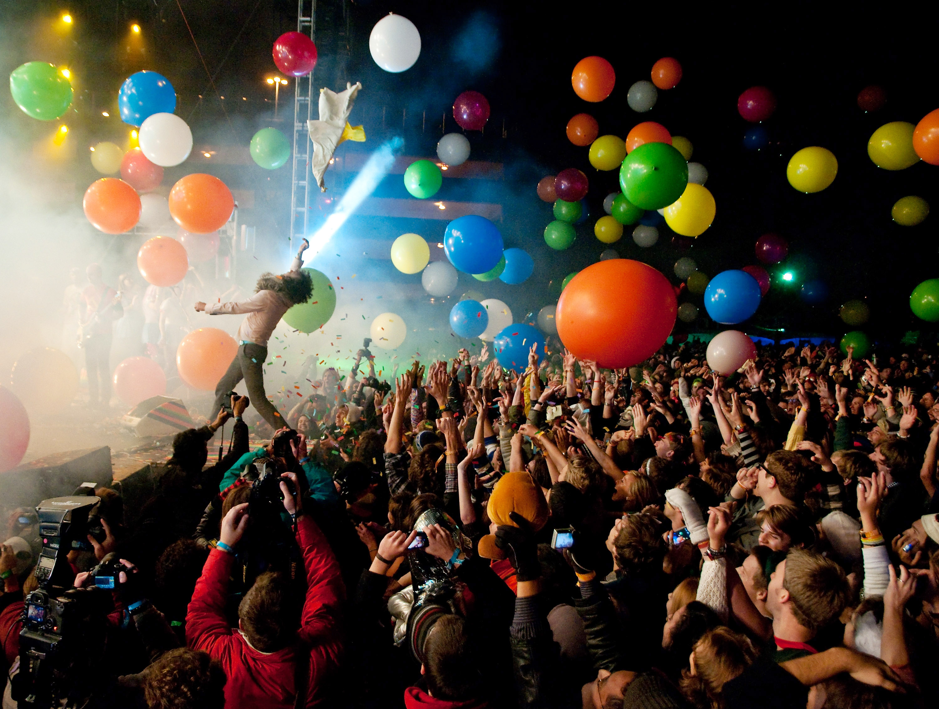 Wayne Coyne performs with The Flaming Lips during Moogfest 2011 at the Animoog Playground on October 29, 2011 in Asheville, North Carolina.