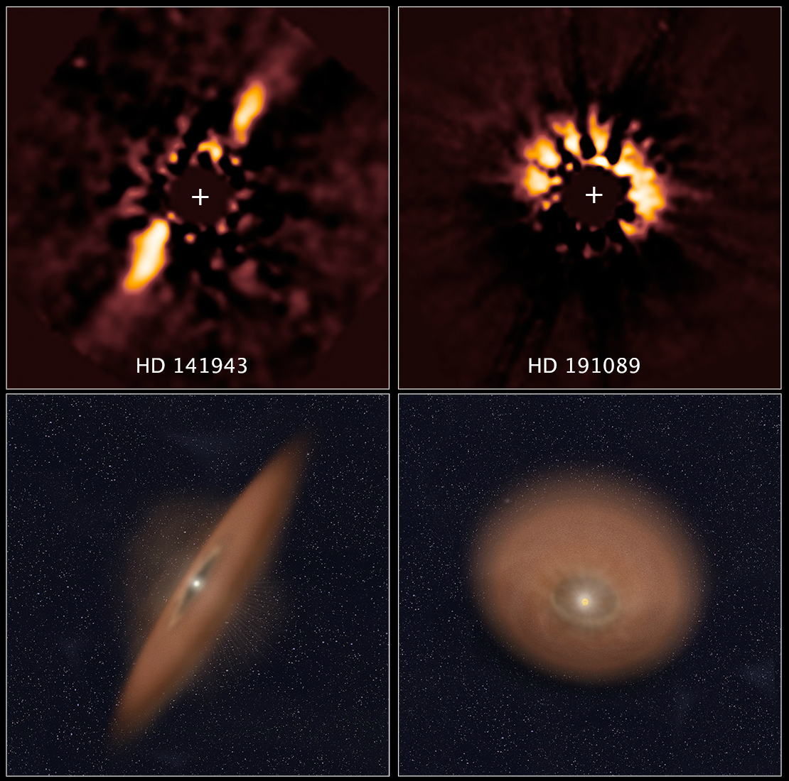 The two images at top reveal debris disks around young stars uncovered in archival images taken by NASA's Hubble Space Telescope. The illustration beneath each image depicts the orientation of the debris disks