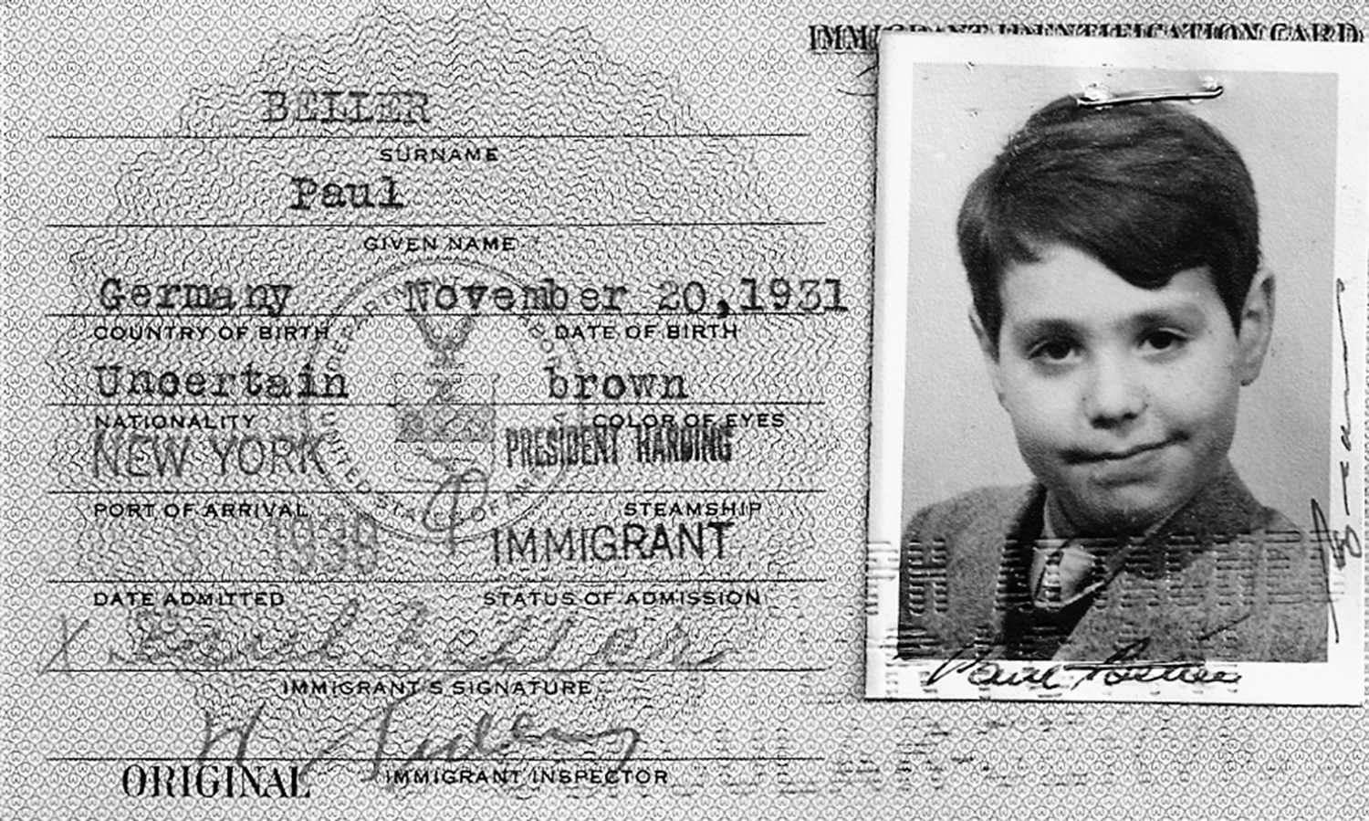 Each child rescued by the Krauses received a U.S. immigration card at the American Embassy in Berlin.