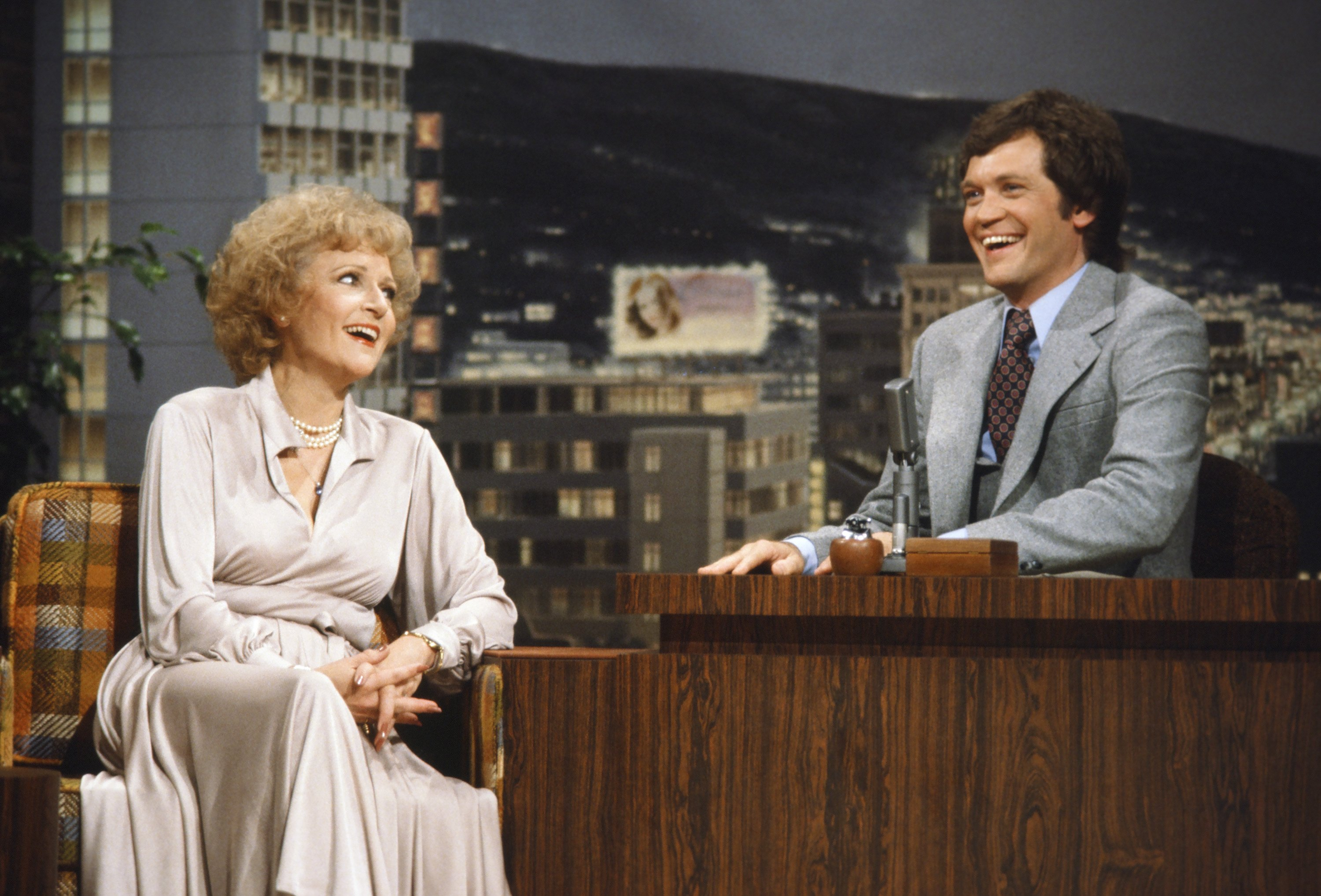 Before he received his own show, Letterman was a regular guest host for <i>The Tonight Show Starring Johnny Carson</i>. Above, he is seen interviewing Betty White.
