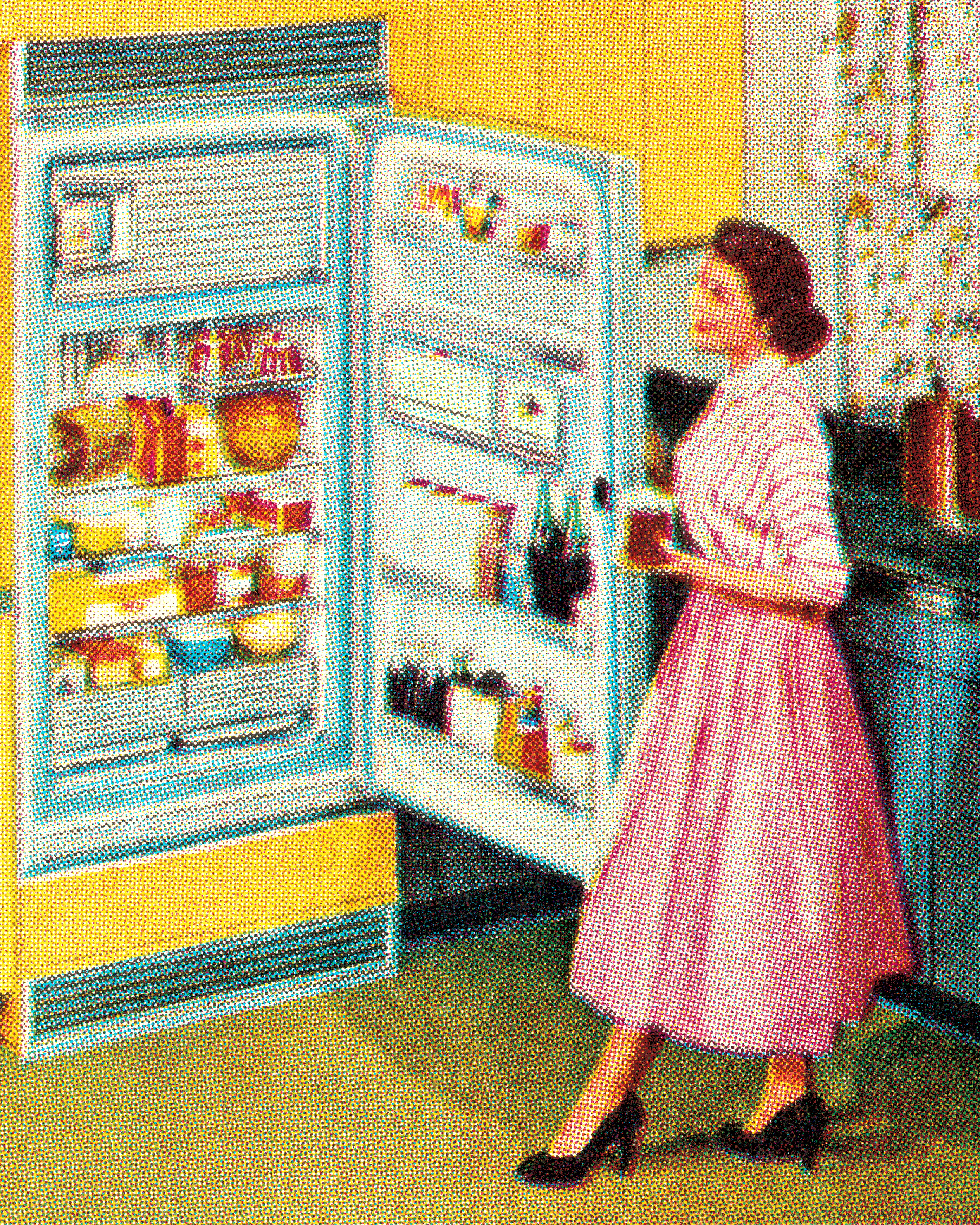 Woman at Open Refrigerator