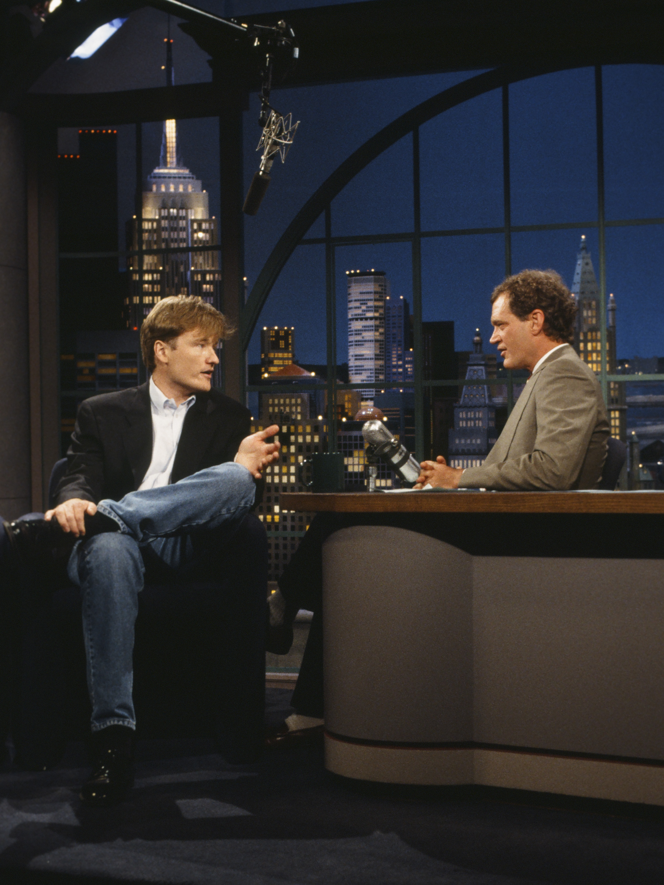 After the cancellation of his morning show, Letterman was given a new show and time slot, <i>Late Night With David Letterman</i> which immediately followed <i>The Tonight Show Starring Johnny Carson</i>. The first version of the <i>Late Night</i> franchise, debuted on February 1, 1982 and would eventually be succeeded by Conan O'Brien, seen above.