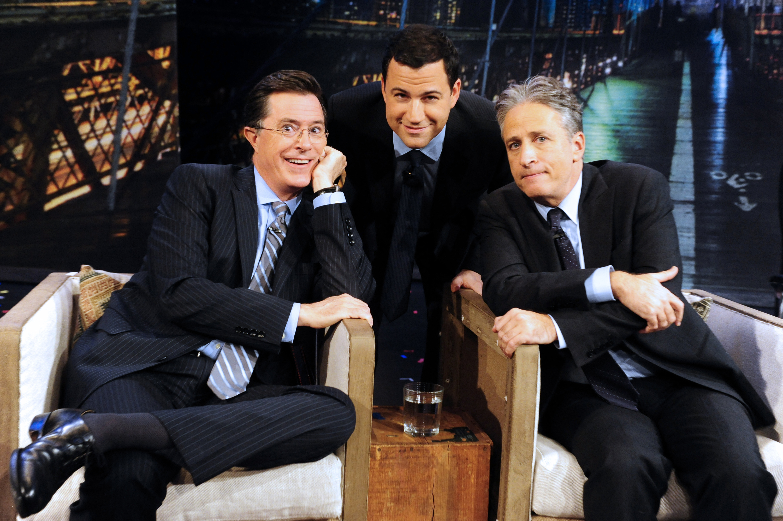 Colbert and Jon Stewart on  Jimmy Kimmel Live  in 2012.