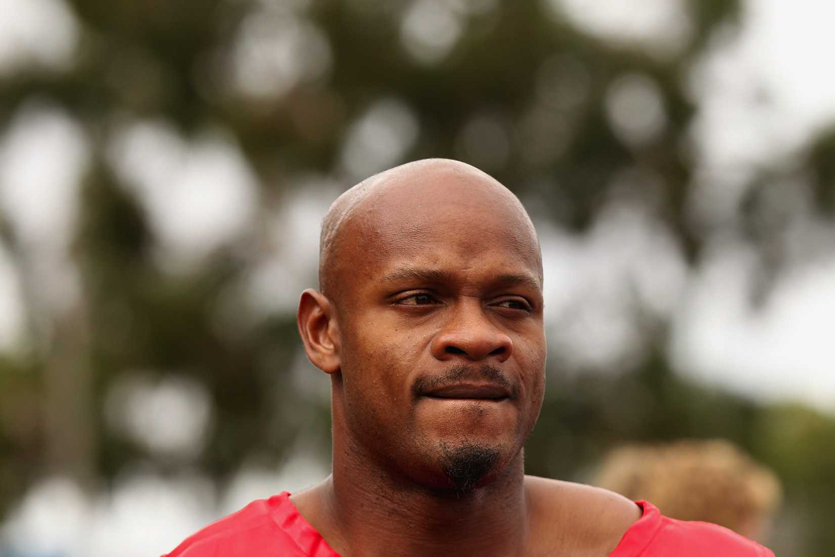Asafa Powell of Jamaica looks on after competing in the Australia Post Stawell Gift Heat 11 during the 2013 Stawell Gift carnival at Central Park on March 30, 2013 in Stawell, Australia.