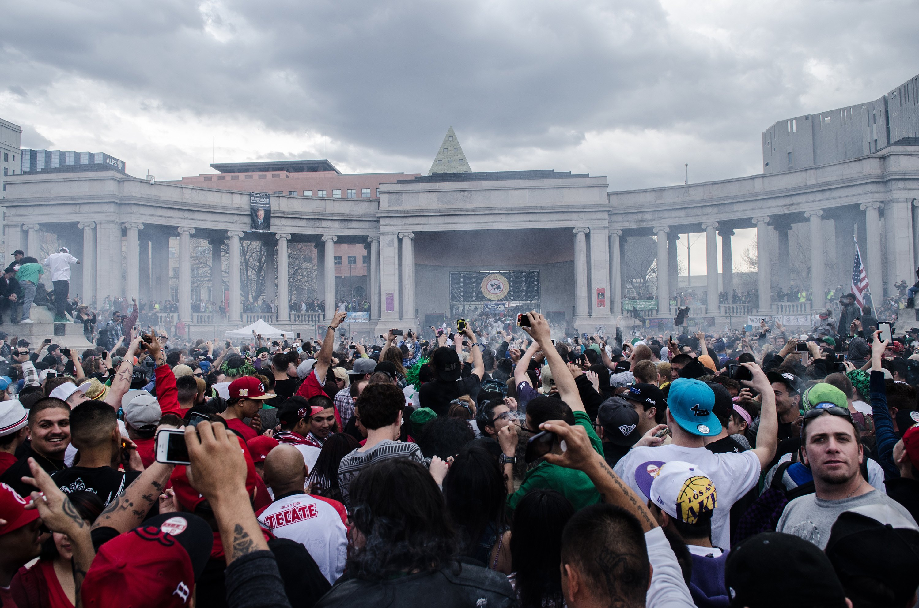 Crowd shot of the 420 celebration at the Civic Center in Denver, Colo. on April 20, 2013.