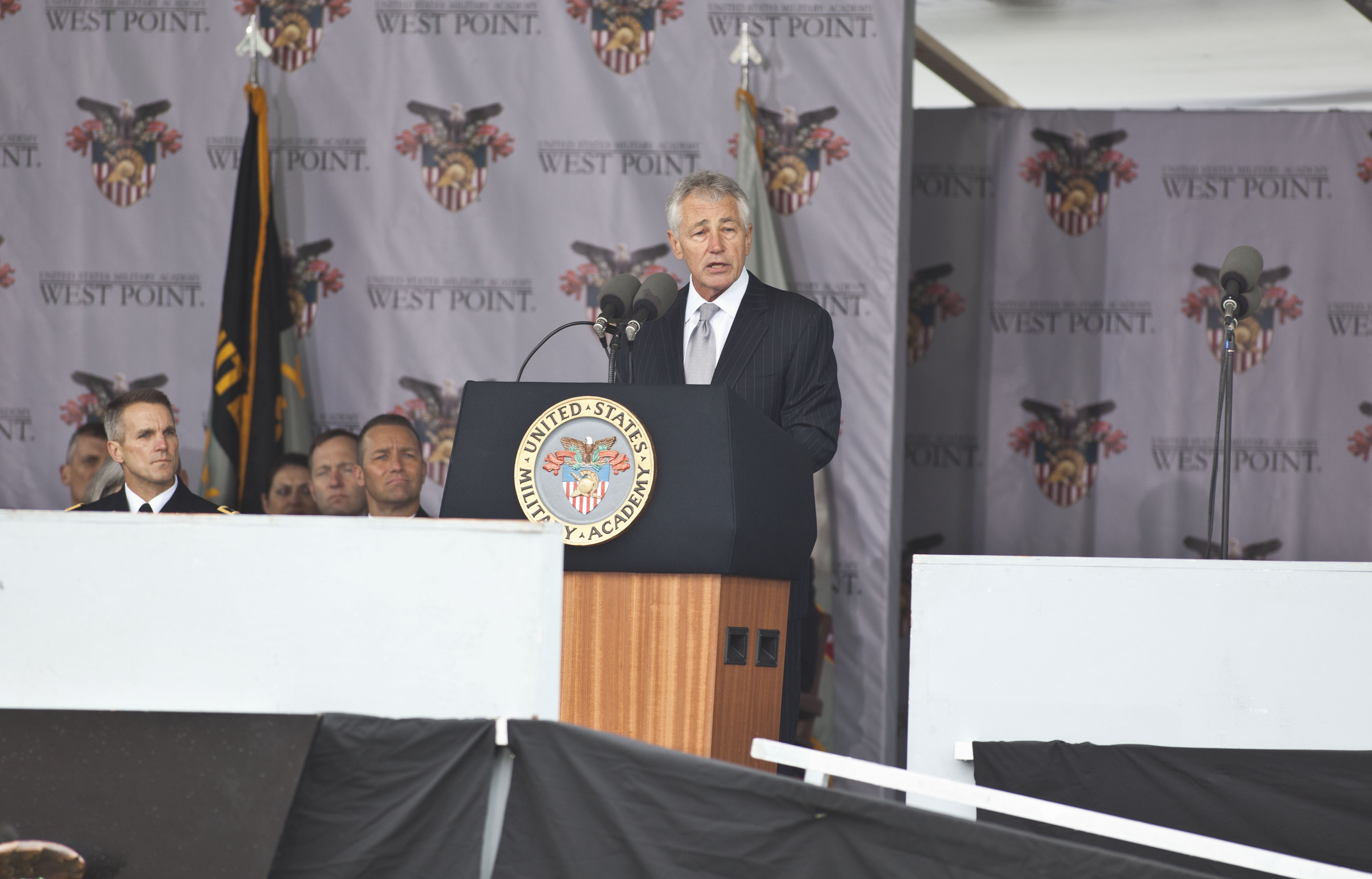 Secretary of Defense Chuck Hagel addresses the United States Military Academy at West Point during the 215 commencement ceremony May 25, 2013 in West Point, New York.