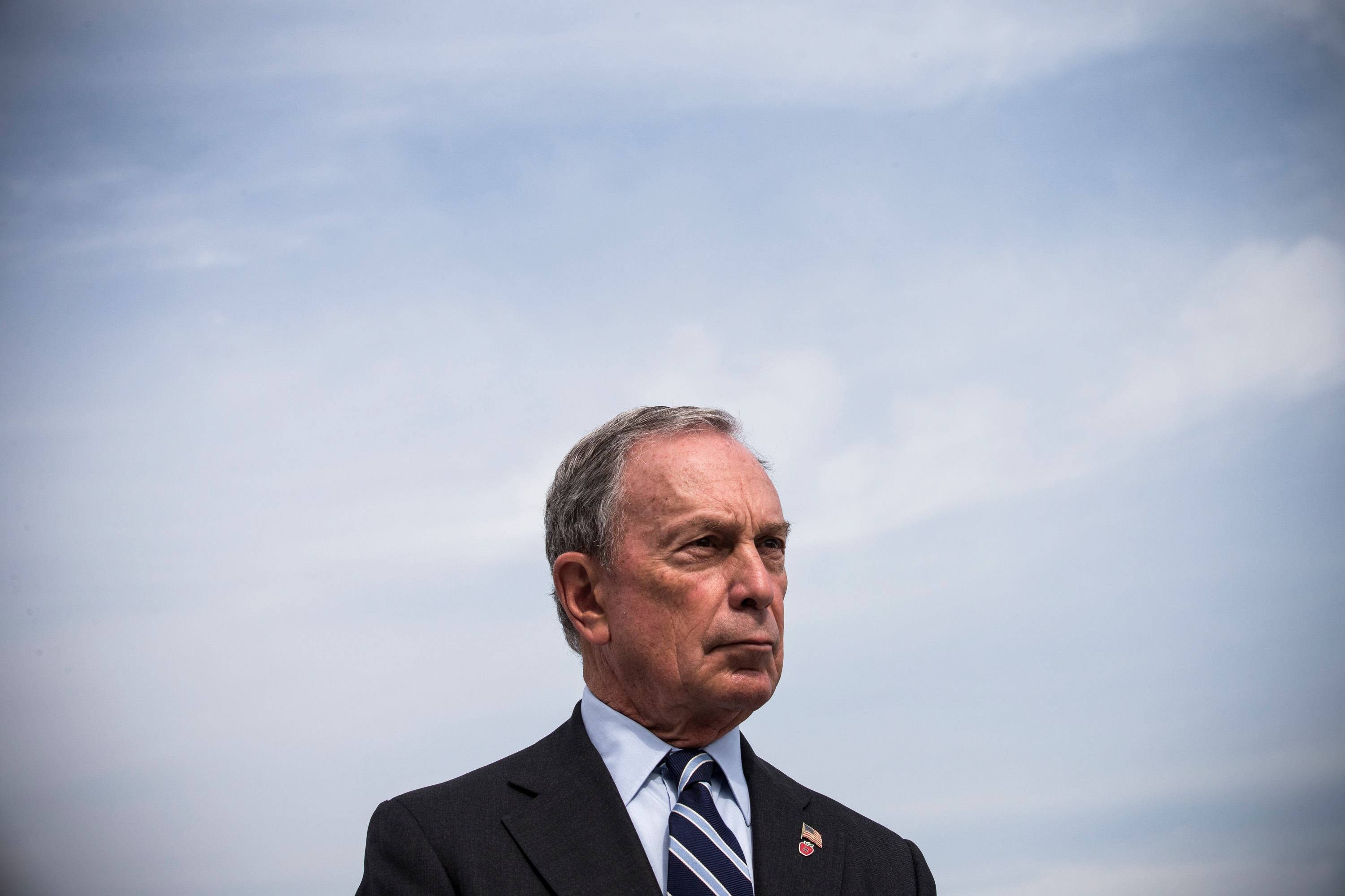 Former New York City Mayor Michael Bloomberg unveils a Hurricane Sandy Recovery Report at a press conference with U.S. Secretary for Housing and Urban Development Shaun Donovan (not seen) on Aug. 19, 2013 in the Brooklyn Borough of New York City.