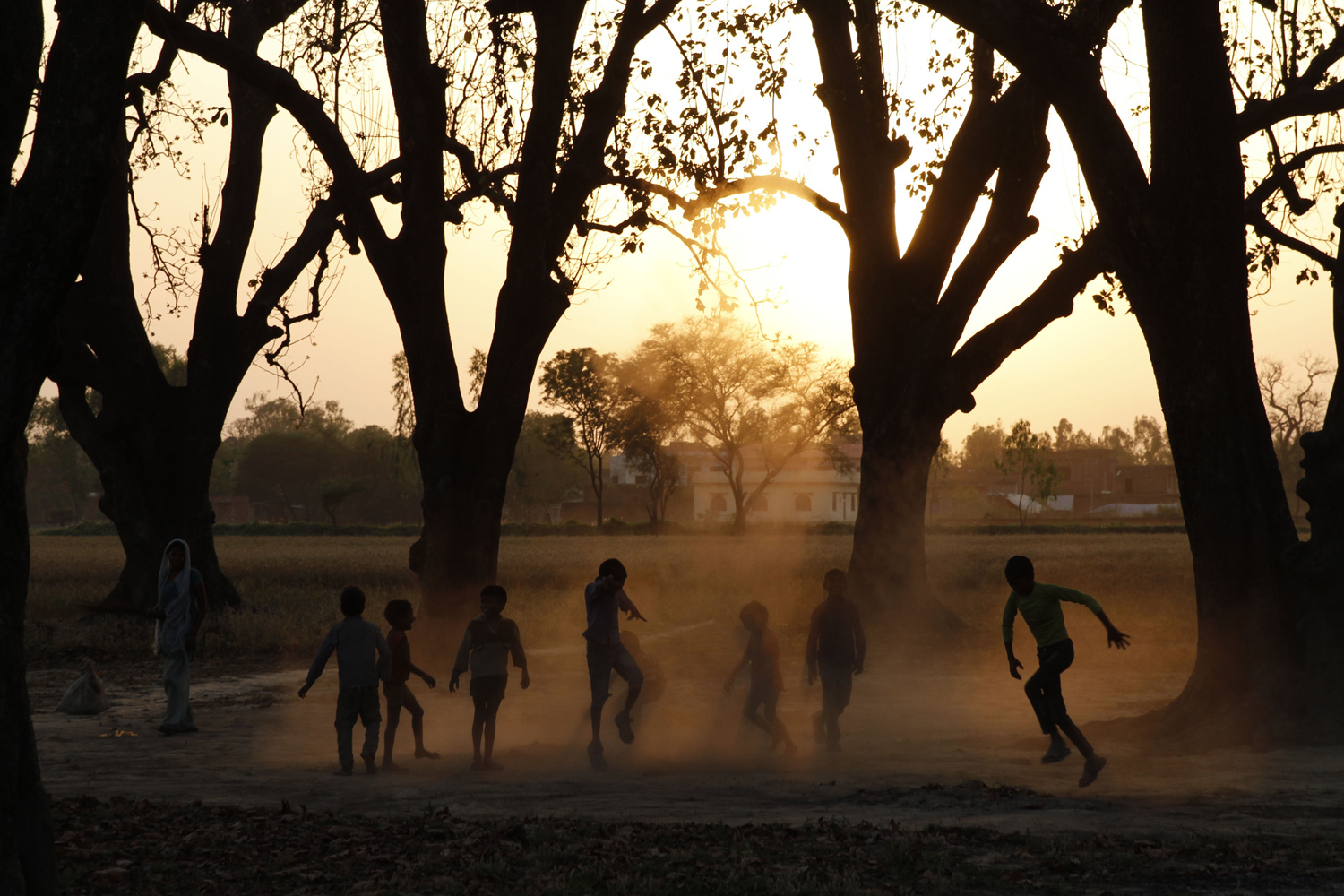 Apr. 7, 2014. Indian children play at Krishna nagar village on the outskirts of Allahabad, India. India started the world's largest election Monday where the country's 814 million electorate will vote in stages over the next five weeks.