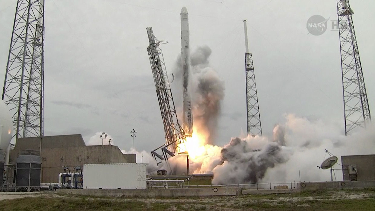 The SpaceX Flacon 9 rocket launches from the Cape Canaveral Air Force Station in Florida