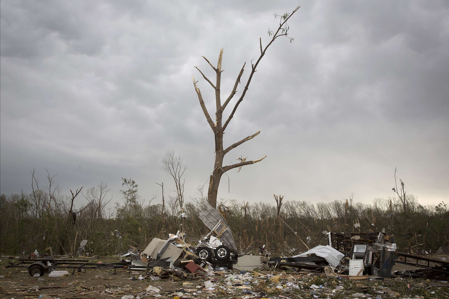 Apr. 29, 2014. Debris from Mayflower RV is pictured strewn around in Mayflower, Arkansas.  A storm system that killed more than 20 people continued its march across a large swath of the U.S. Southeast on Tuesday, packing baseball-sized hail, damaging winds and the threat of more tornados, meteorologists said.
