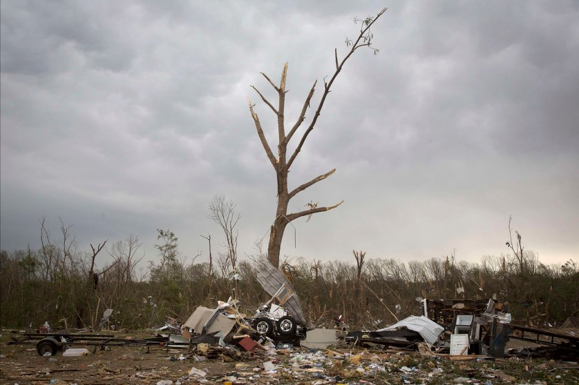 Debris from Mayflower RV is pictured strewn around in Mayflower, Arkansas