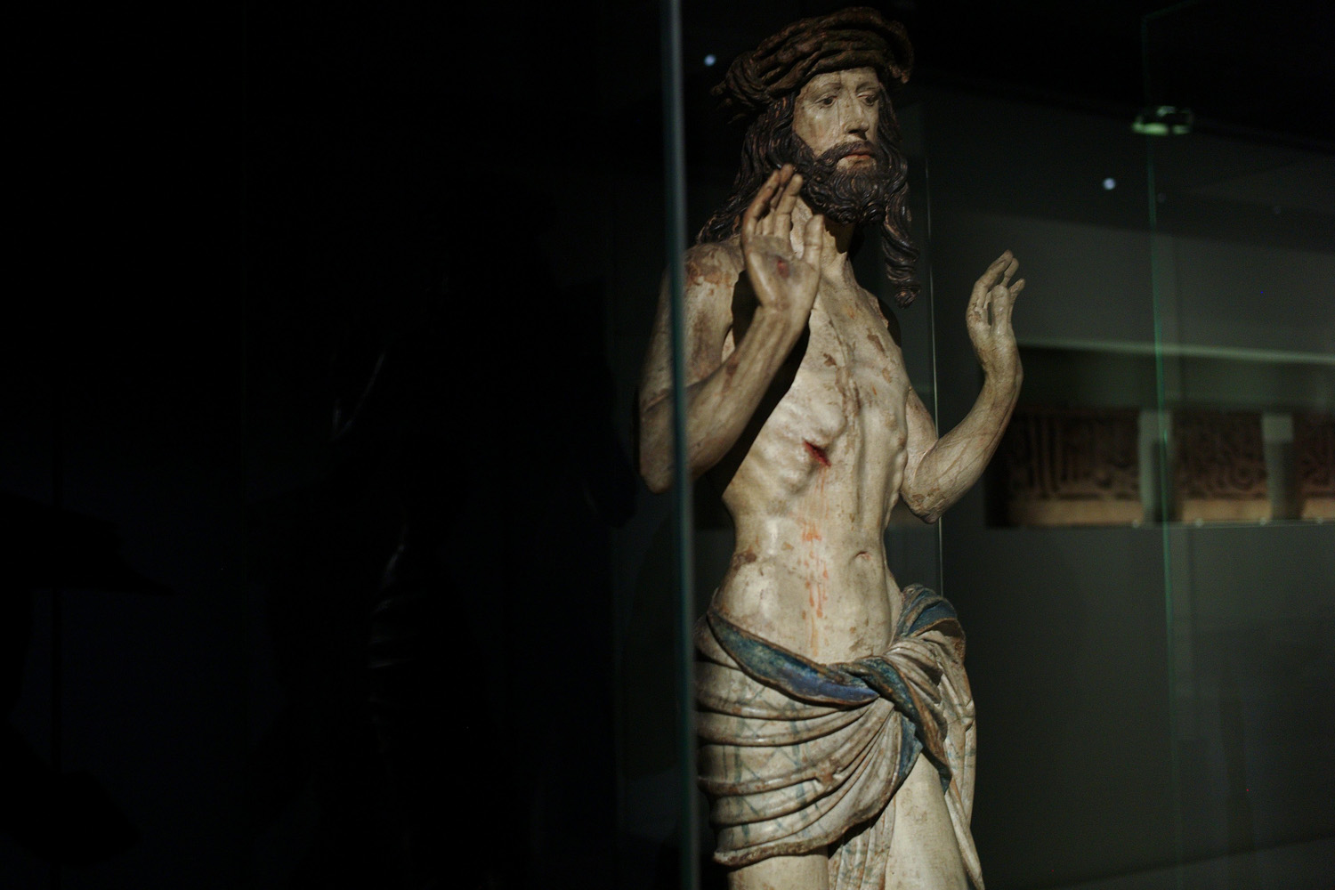 Apr. 28, 2014. A wooden statue named  Christ showing his wounds  (1520) is displayed as part of the exhibition  Louvre Abu Dhabi. Birth of a museum , at the Louvre museum, in Paris.