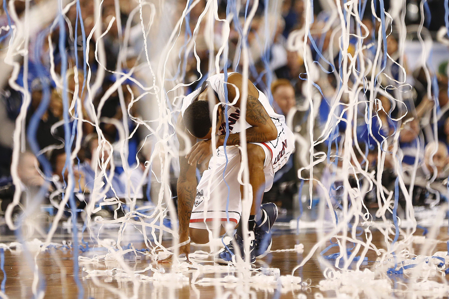 Apr. 7, 2014.  Connecticut Huskies guard Ryan Boatright  celebrates as the Connecticut Huskies beat the Kentucky Wildcats 60-54 in the NCAA Final Four championship game at AT&T Stadium in Arlington, Texas.