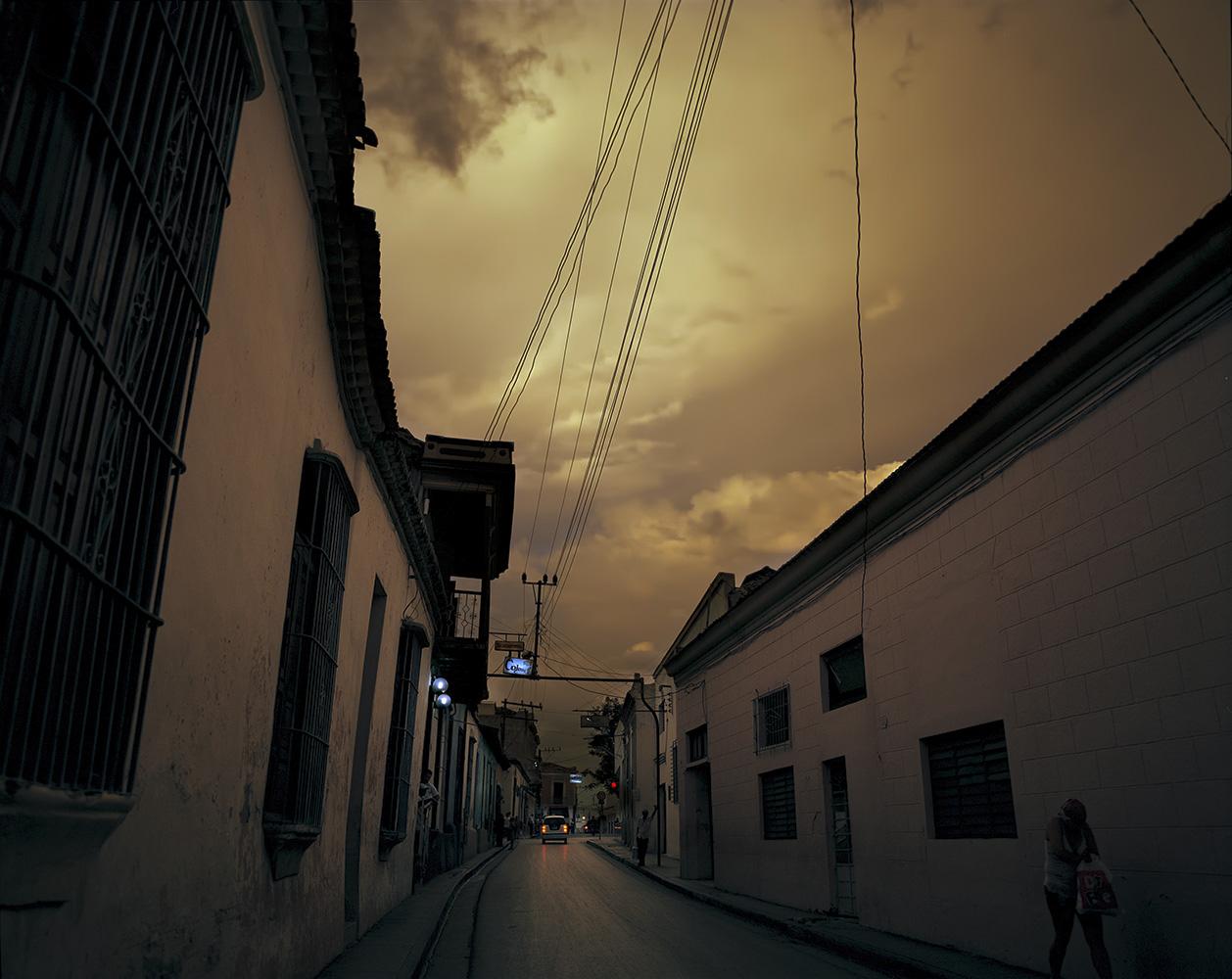 The city of Santiago de Cuba at dusk.