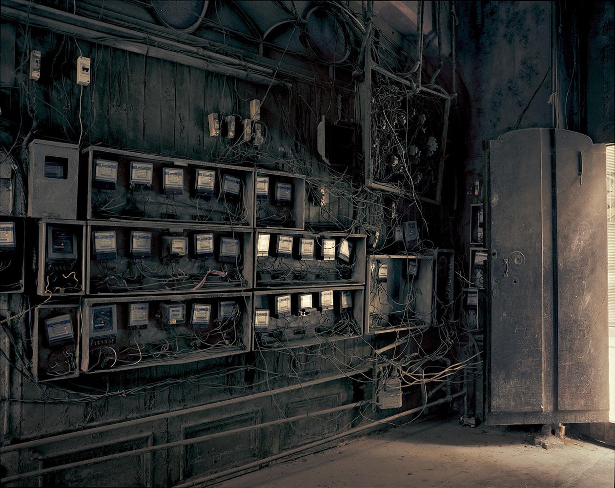 Electricity meters in a building in Old Havana.