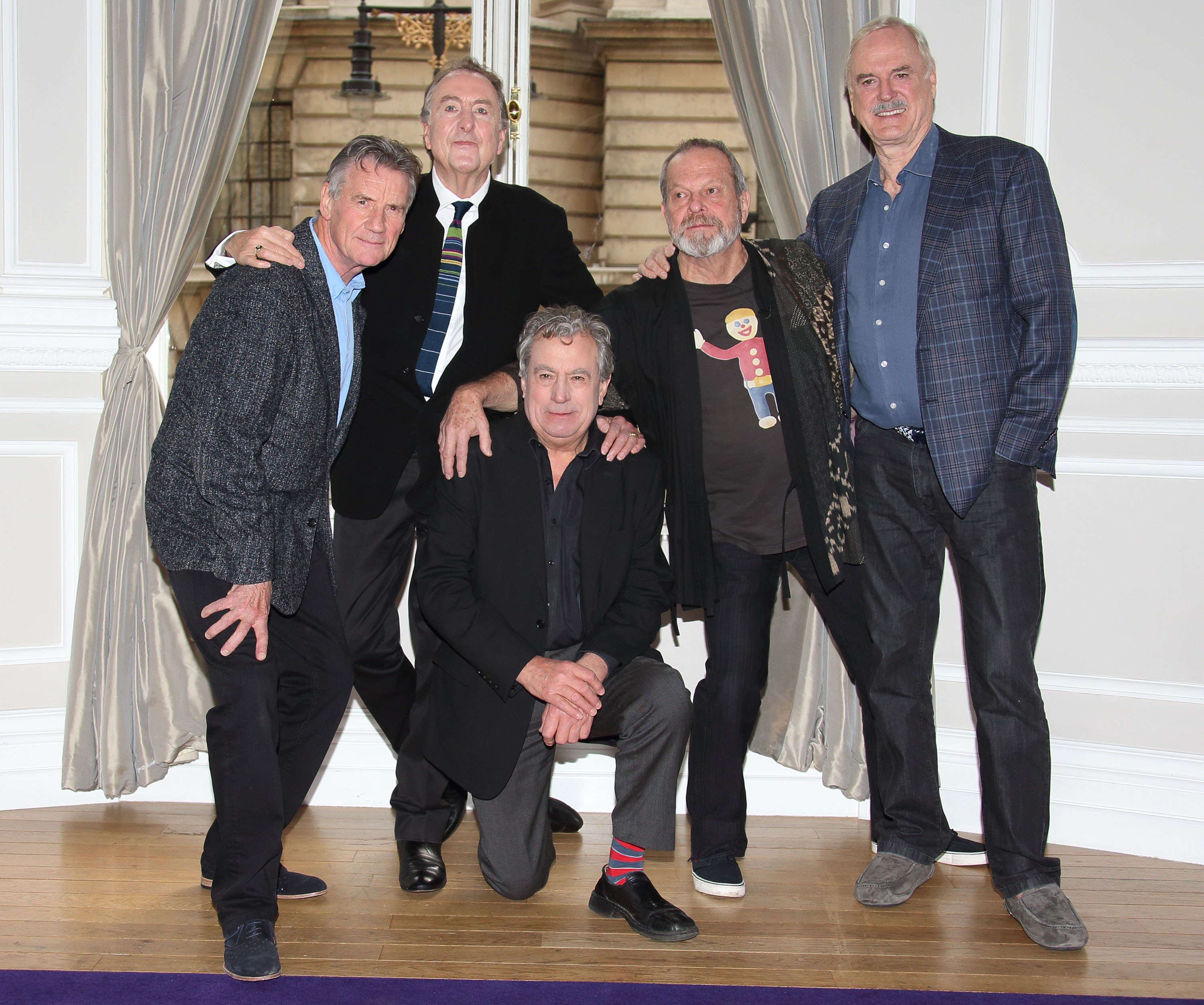 John Cleese, Eric Idle, Terry Gilliam, Michael Palin and Terry Jones at a conference to announce a Monty Python Reunion on November 21, 2013 in London, England.