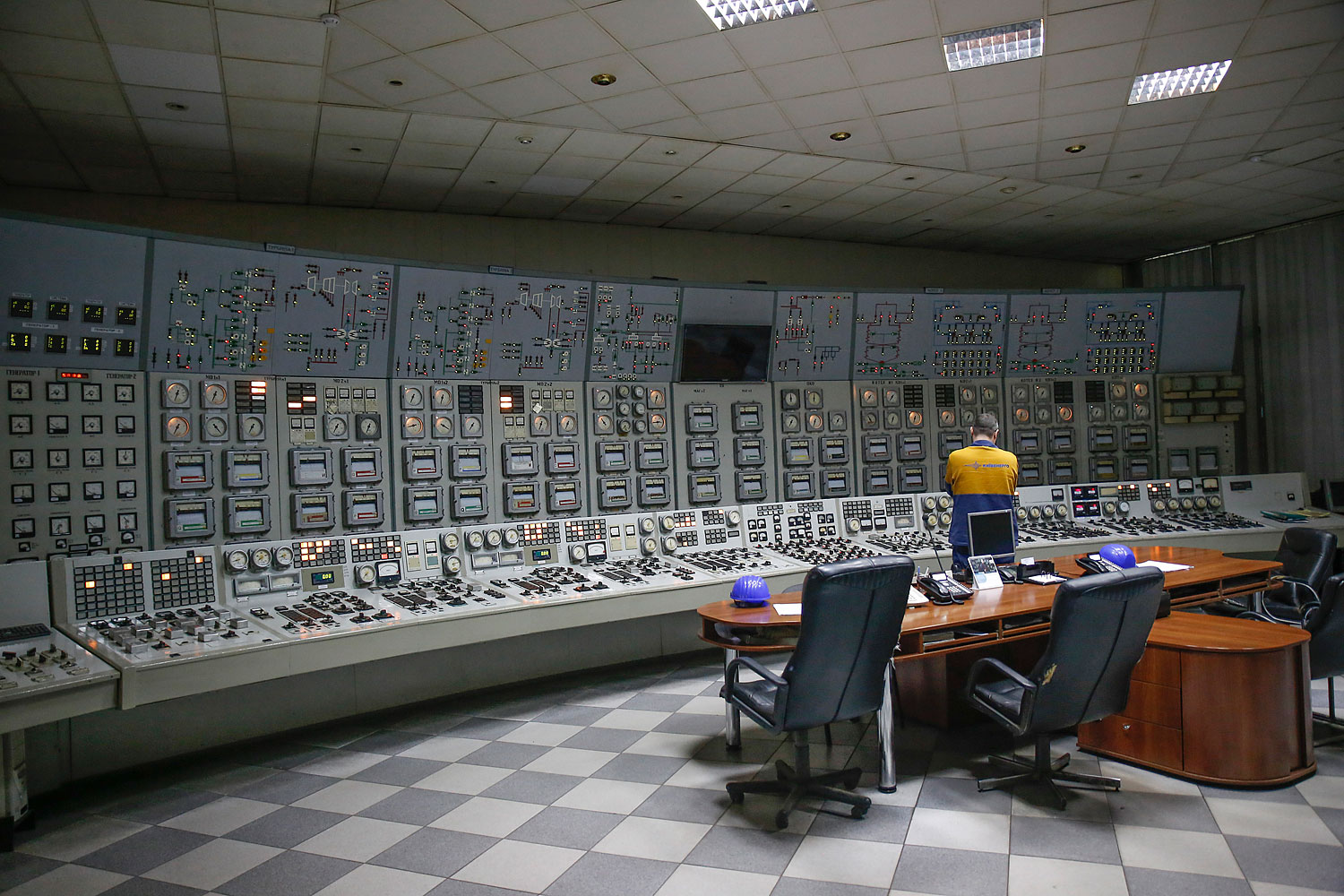 An engineer observes readings in the electricity control room at the gas powered Power Plant No.5 operated by Kievenergo, a unit of DTEK Holdings BV, in Kiev, Nov. 22, 2013.