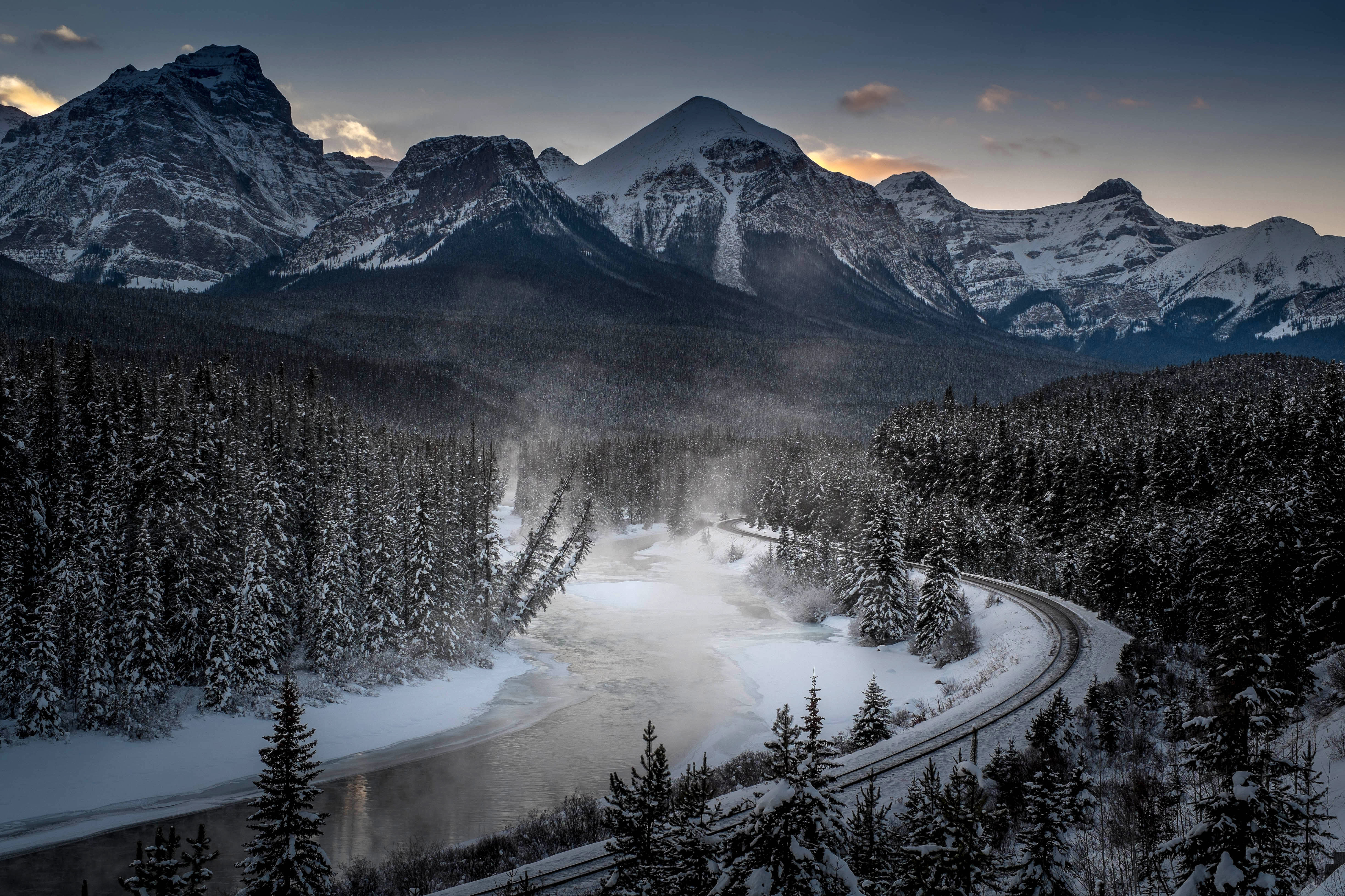The famous Morant's Curve, offering a beautiful view of the frozen Bow River and the Canadian Pacific Railway at Banff National Park near Lake Louise, Canada, on Dec. 6, 2013