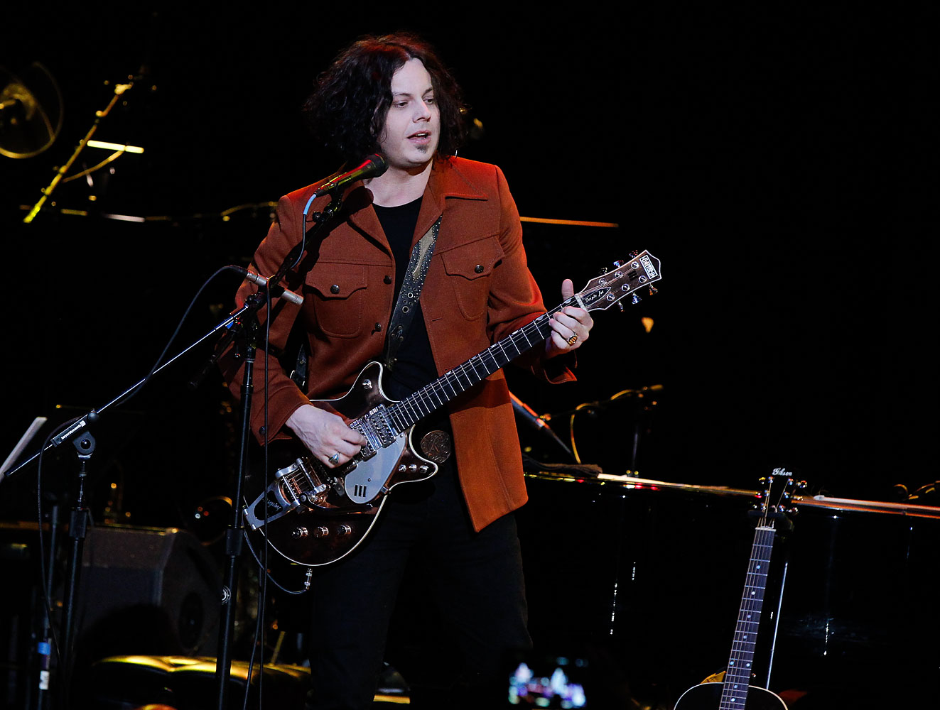 Jack White performs during Brendan Benson and Friends at the Ryman Auditorium on Dec. 18, 2013 in Nashville.