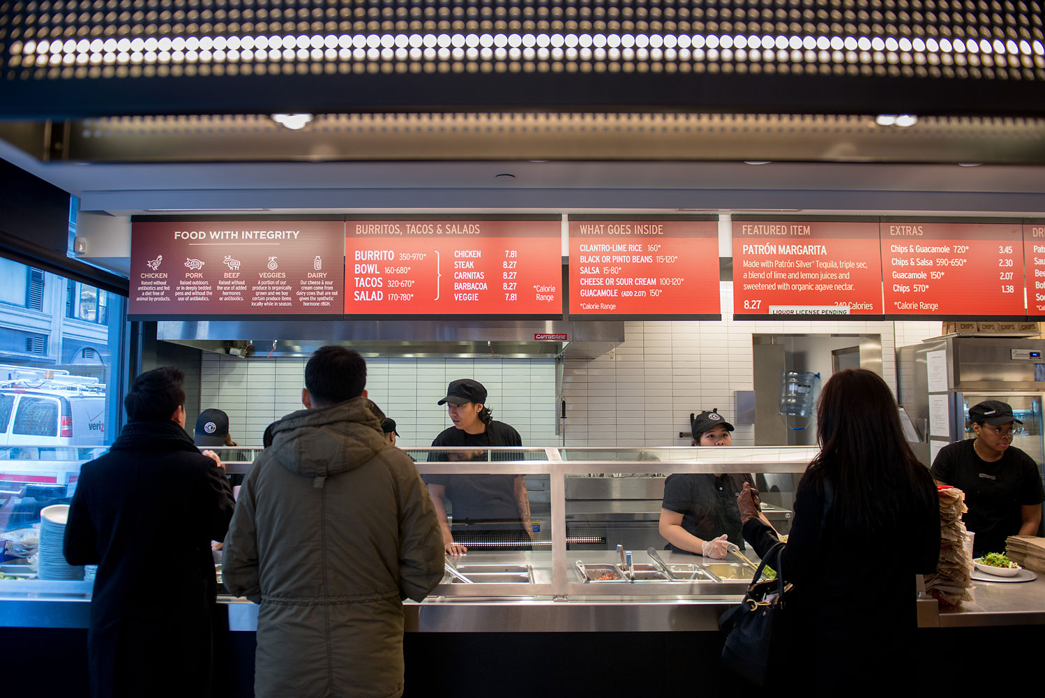Lunchtime activites at Chipotle Mexican Grill's Madison Square Park Location in New York, Jan. 29, 2014.