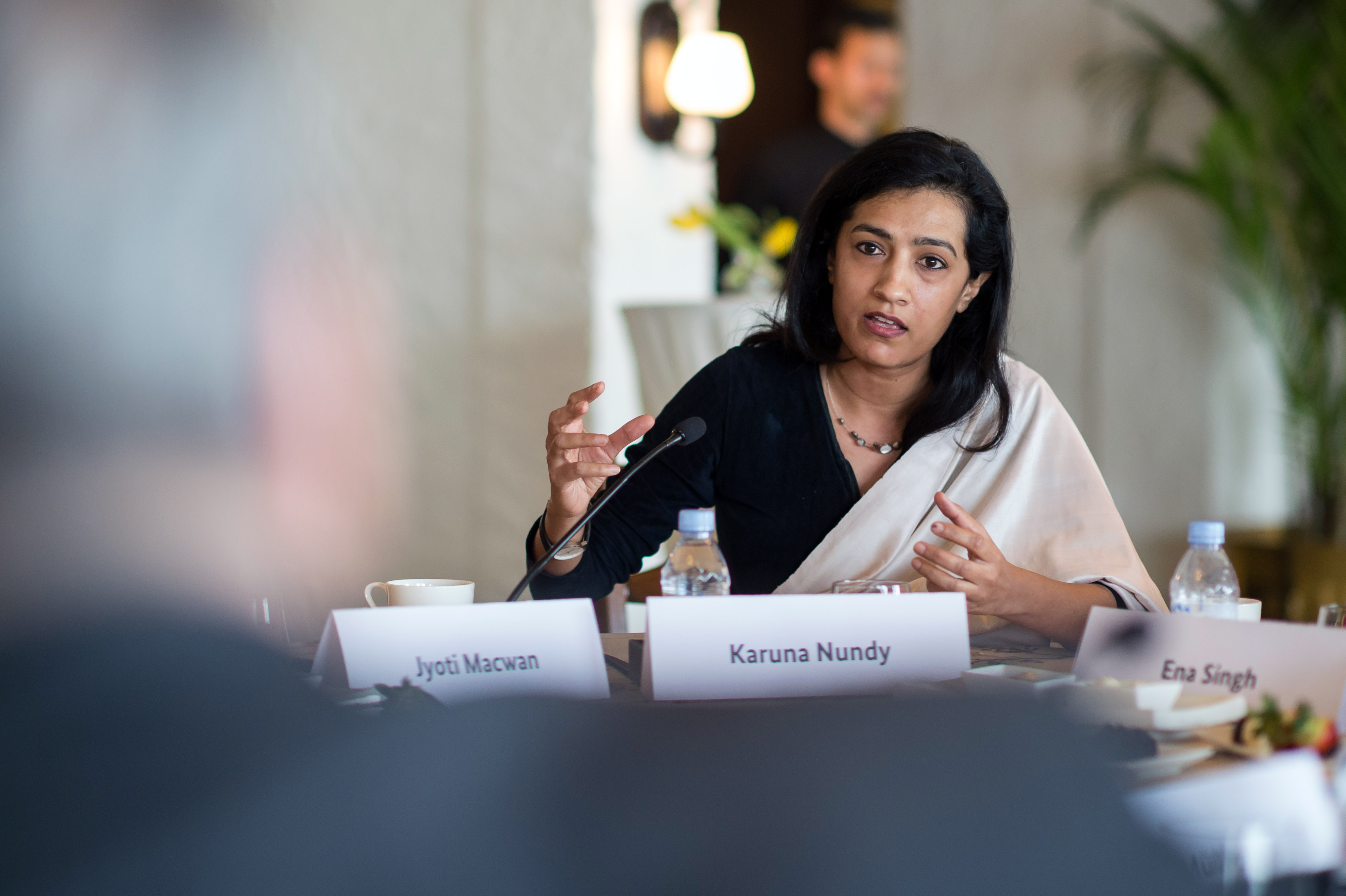 Karuna Nundy, seen here addressing German President Joachim Gauck on the role of women in India in February, is a founder of the Womanifesto campaign