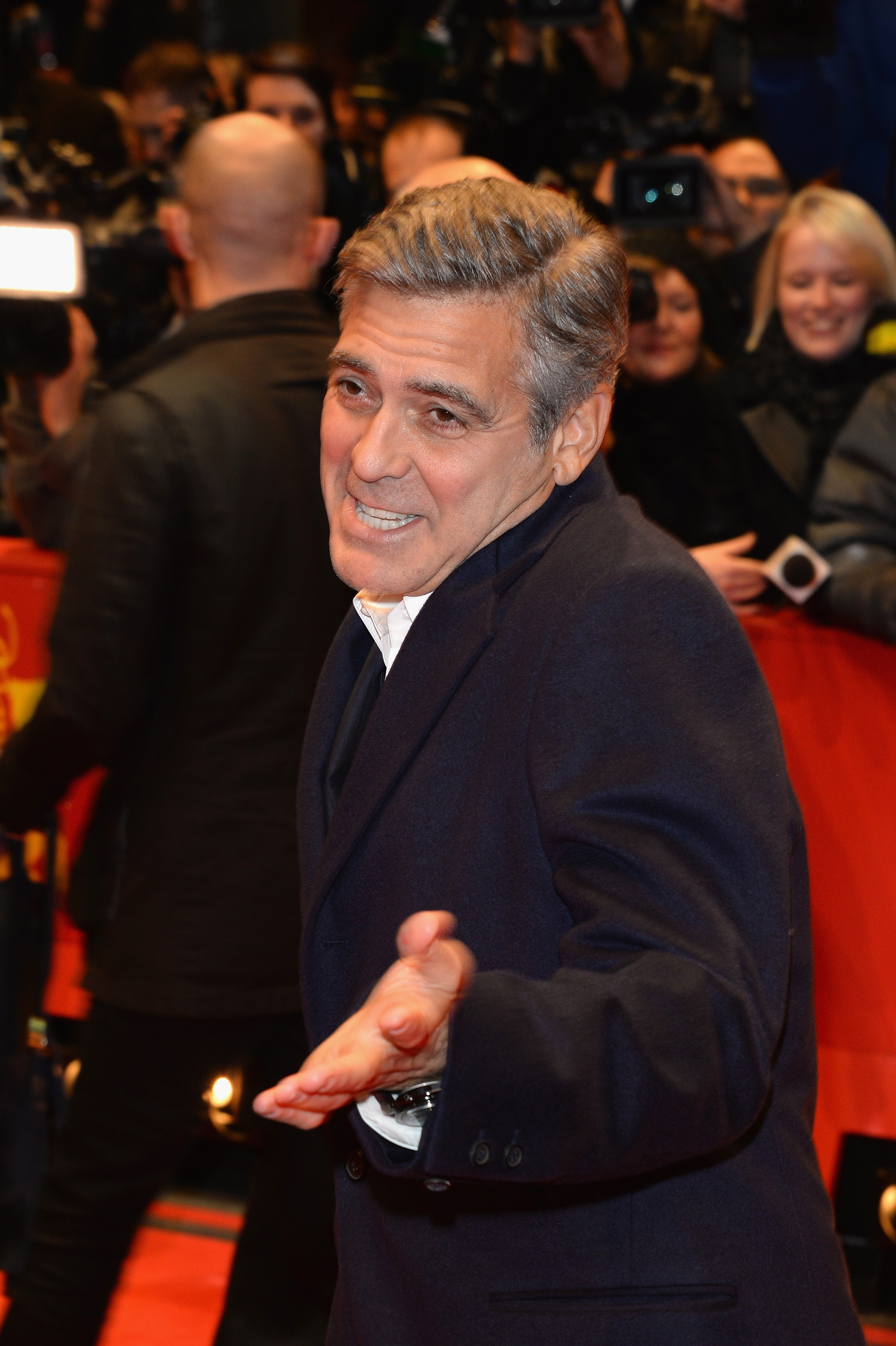 George Clooney attends The Monuments Men premiere during the 64th Berlinale International Film Festival in Berlin on Feb. 8, 2014