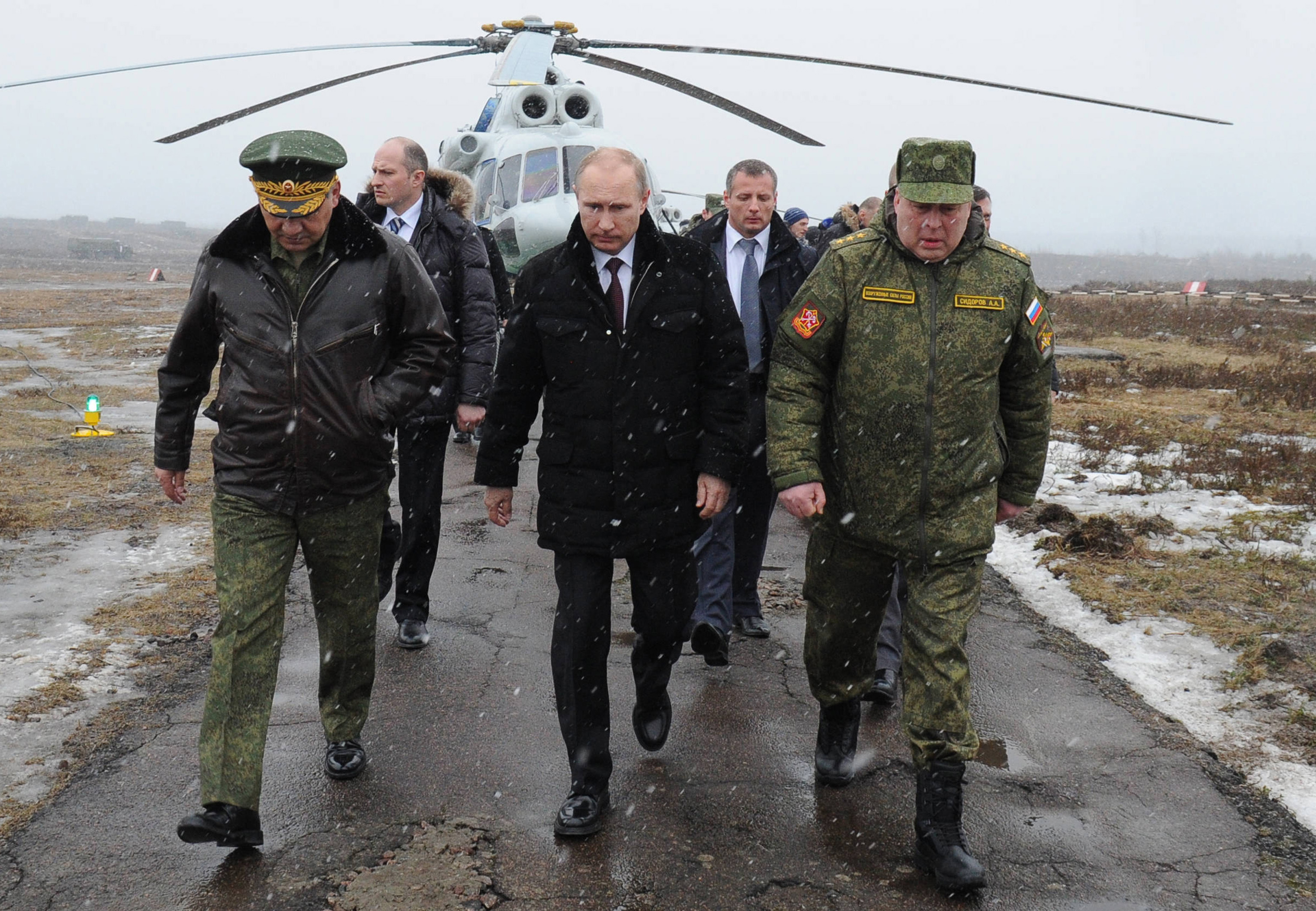 Vladimir Putin inspects Russian army drills near Leningrad in March. A vast majority of Americans view Putin as dishonest and untrustworthy, according to a new poll