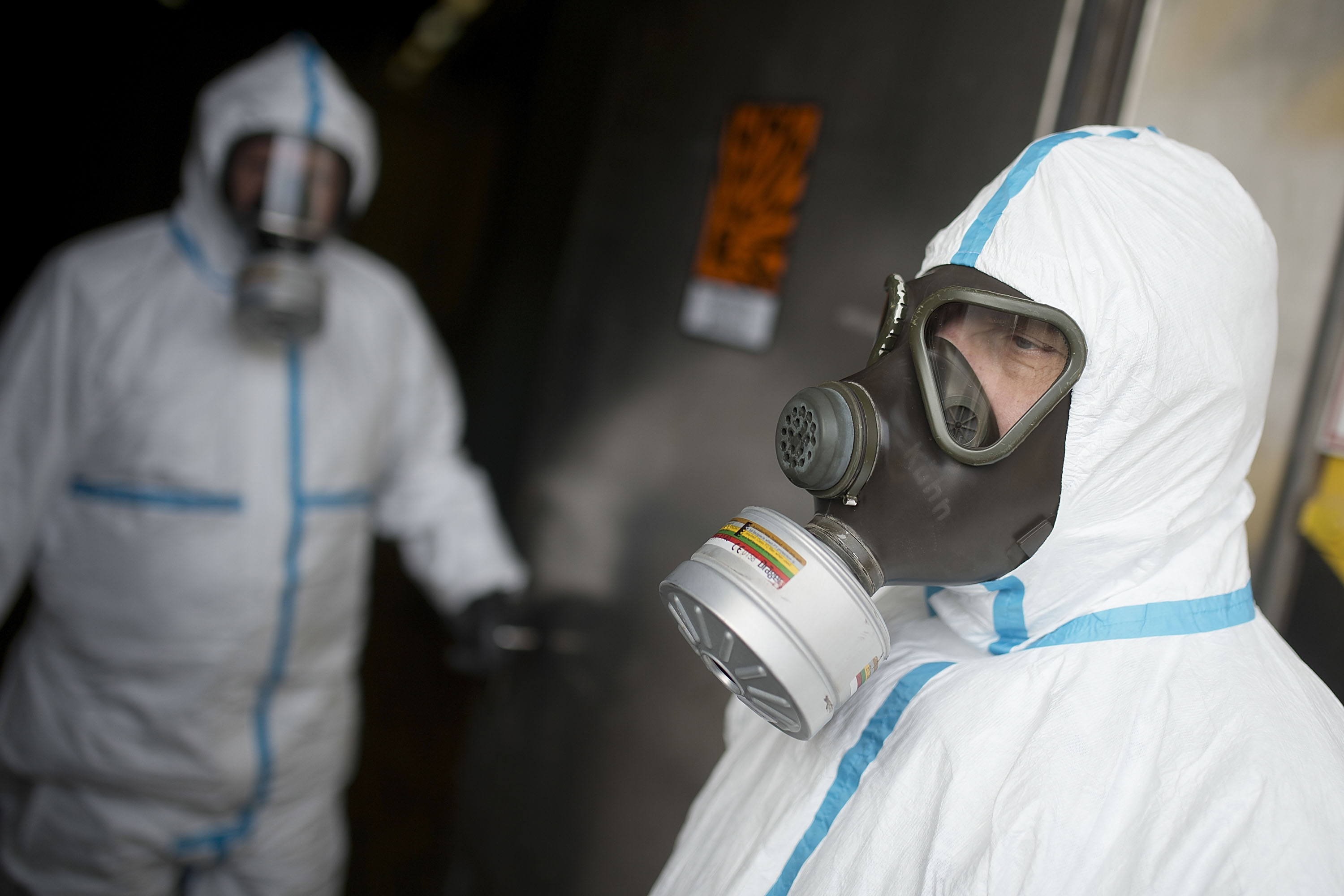 A worker stands next to a machine that will be used to destroy chemical weapons from Syria during a press day at the GEKA facility on March 5, 2014 in Munster, Germany. GEKA is federally-funded and its sole function is the destruction of chemical weapons from military arsenals. Syria agreed to give up its chemical weapons last August and disposal, which is already underway on an American ship in the Mediterranean, is scheduled to be completed by June.