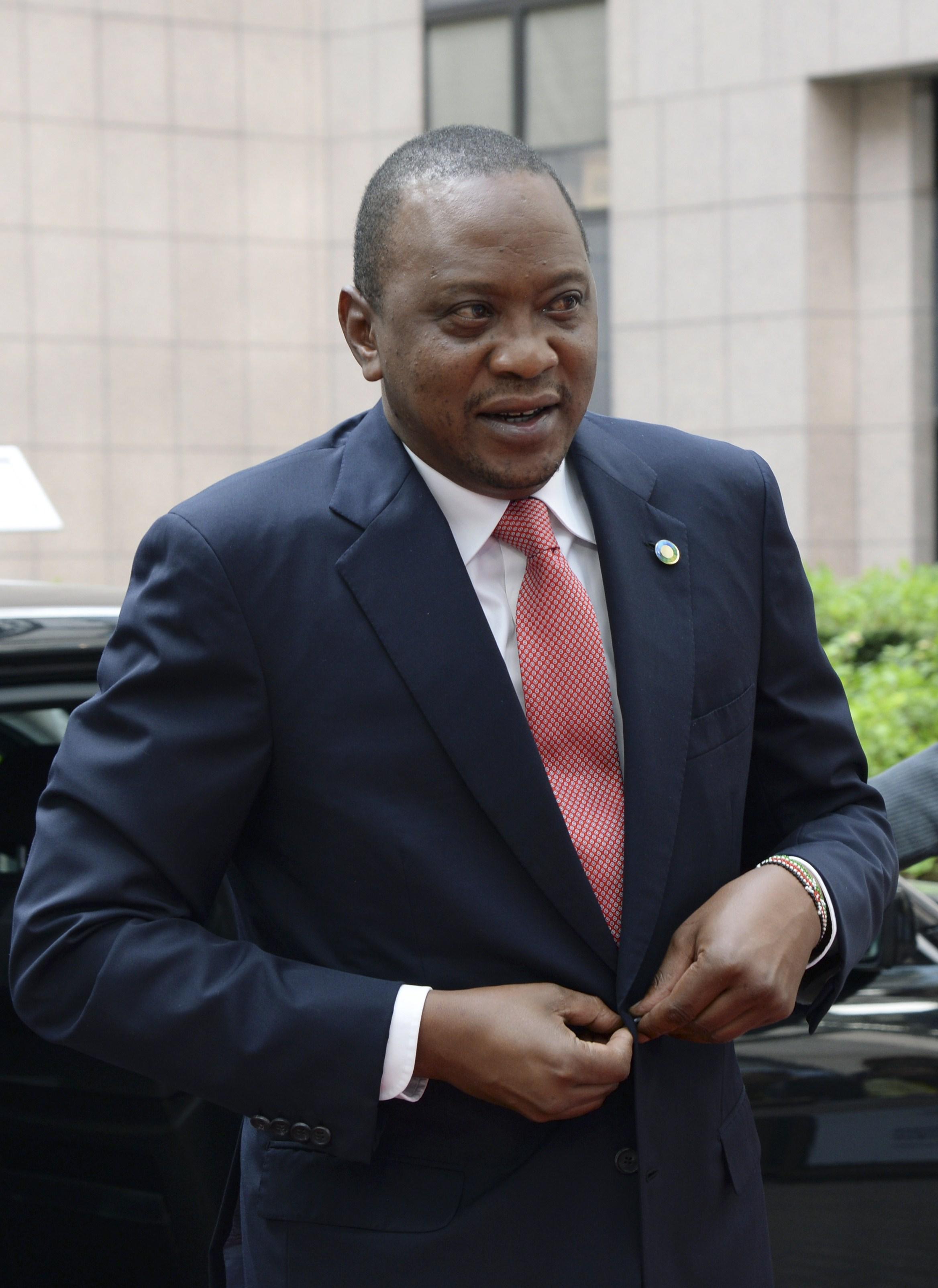 Kenya's President Uhuru Kenyatta arrives for the 4th EU-Africa summit on April 2, 2014