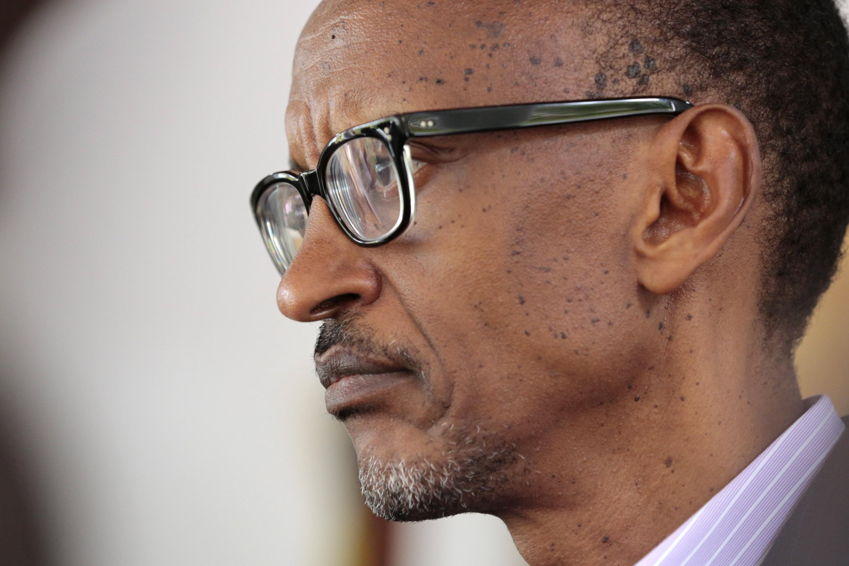Rwandan President Paul Kagame looks on at his office in Kigali, Rwanda, on April 6, 2014