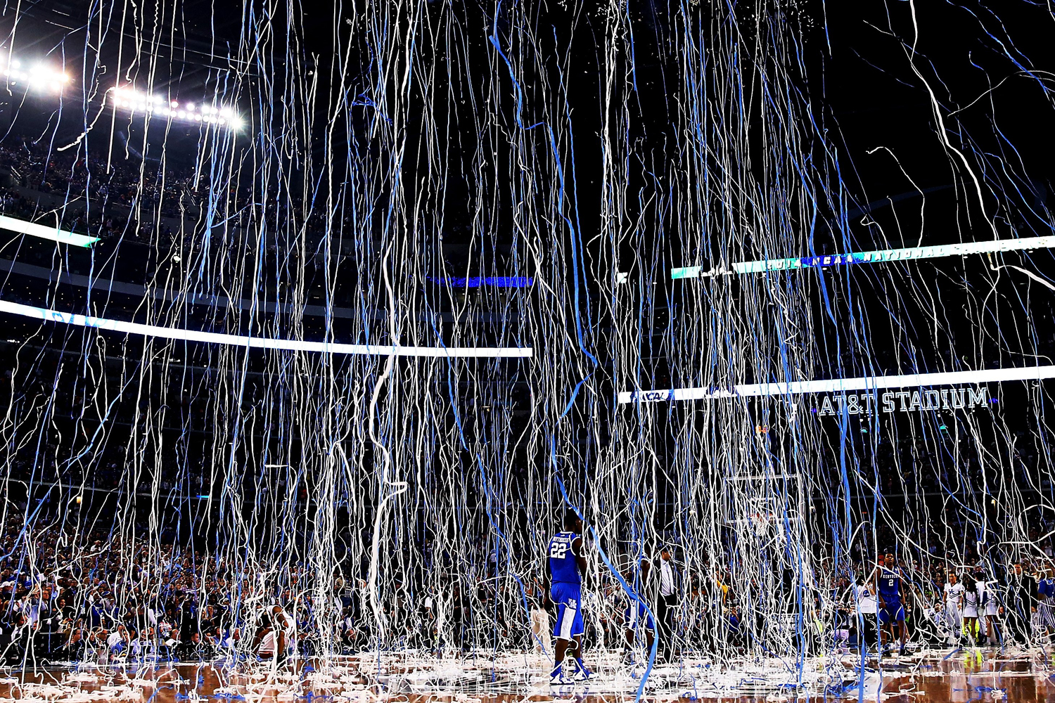 Apr. 7, 2014. Alex Poythress #22 of the Kentucky Wildcats walks off the court after losing to the Connecticut Huskies 60-54 in the NCAA Men's Final Four Championship at AT&T Stadium in Arlington, Texas.