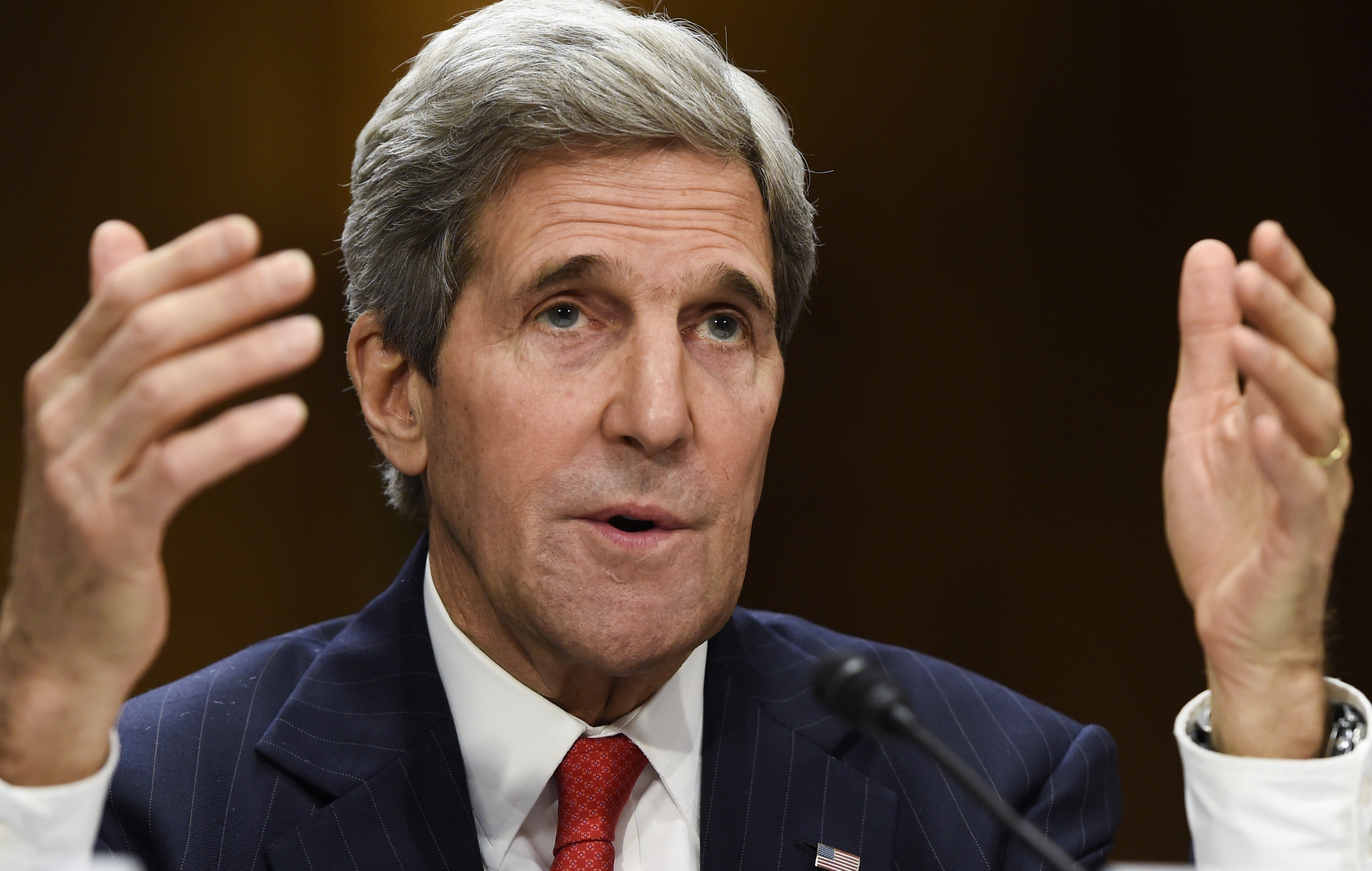 US Secretary of State John Kerry testifies before the Senate Foreign Relations Committee on Capitol Hill in Washington, DC, April 8, 2014.
