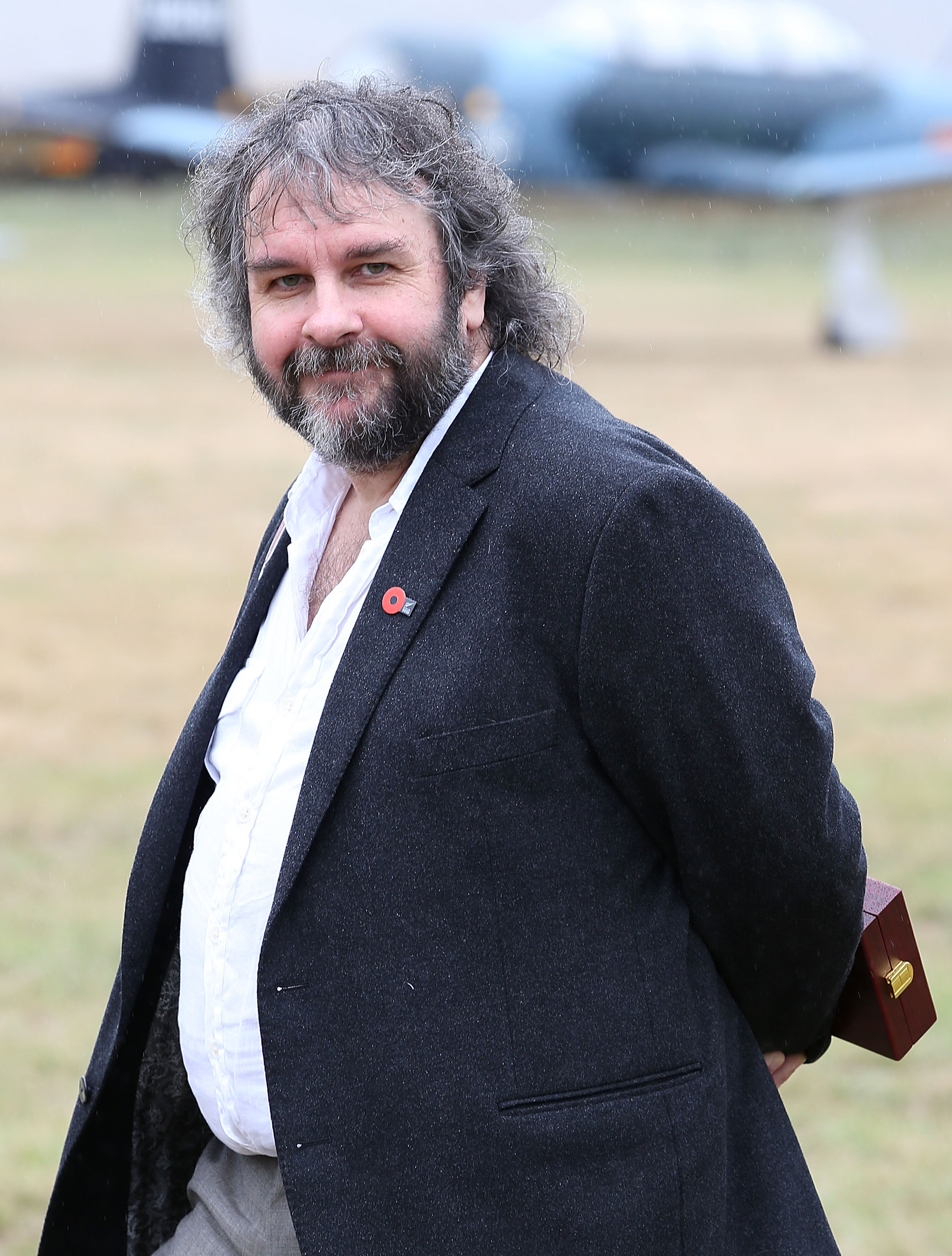 Sir Peter Jackson attends the 'Knights of the Sky' exhibition at Omaka Aviation Heritage Centre in Blenheim on April 10, 2014 in Wellington, New Zealand.