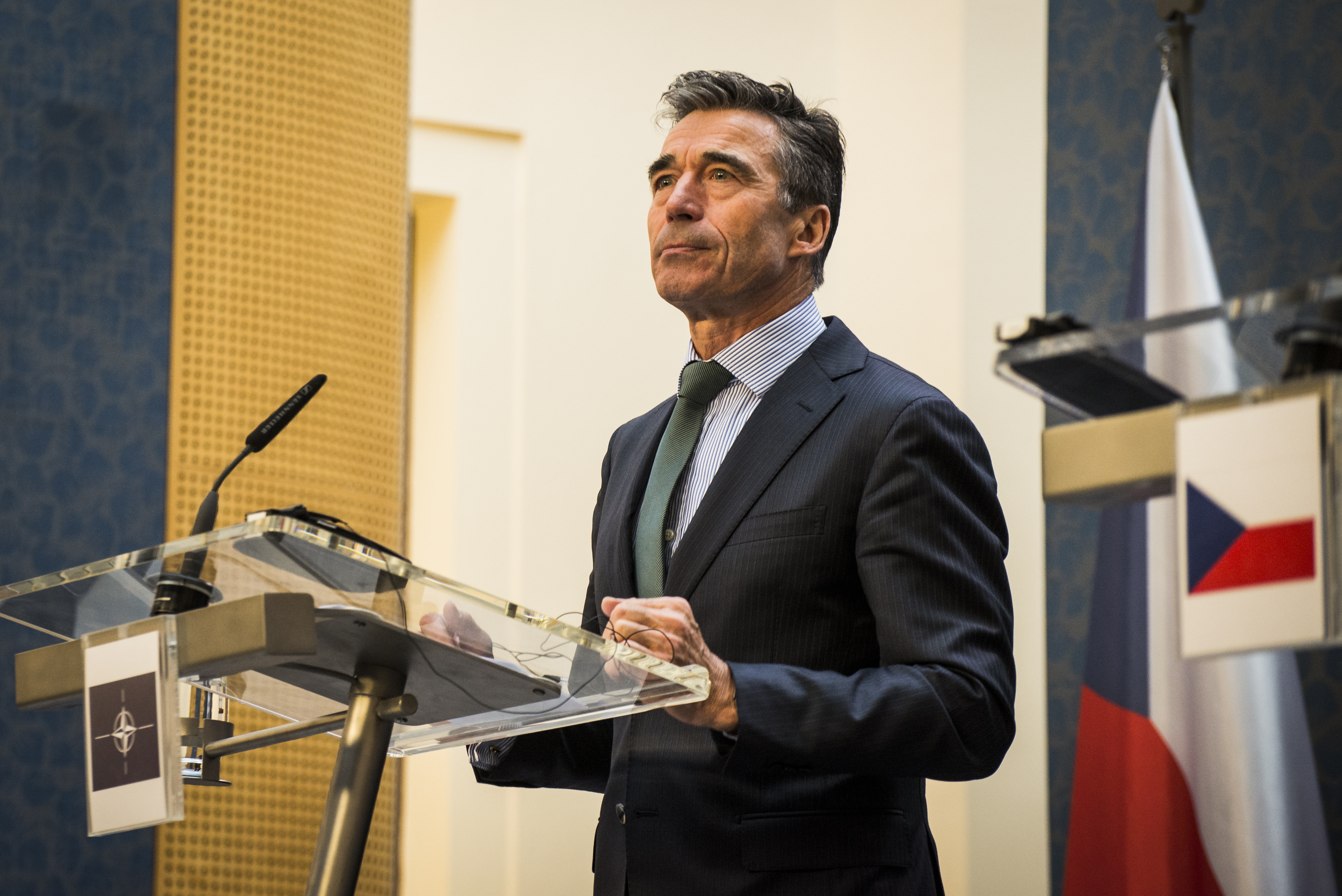 Anders Fogh Rasmussen speaks at a press conference in Prague on April 10, 2014. He issued dire warnings on the Russian troop build-up on Ukraine's border