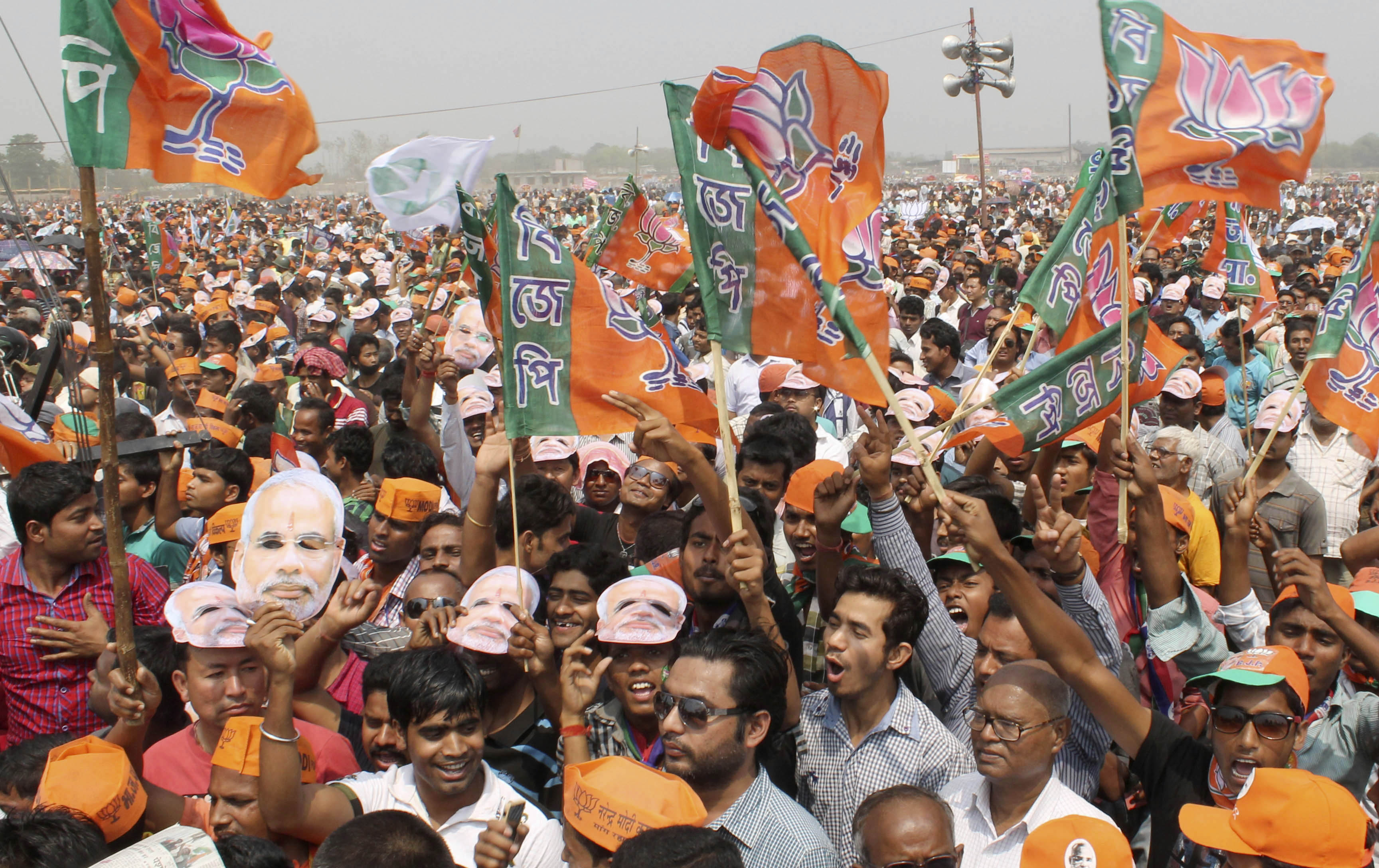 A rally for BJP Prime Ministerial candidate Narendra Modi in Siliguri, Darjeeling, on April 10, 2014. Voter mobilization, campaigning and advertising costs have made this the most expensive Indian poll ever