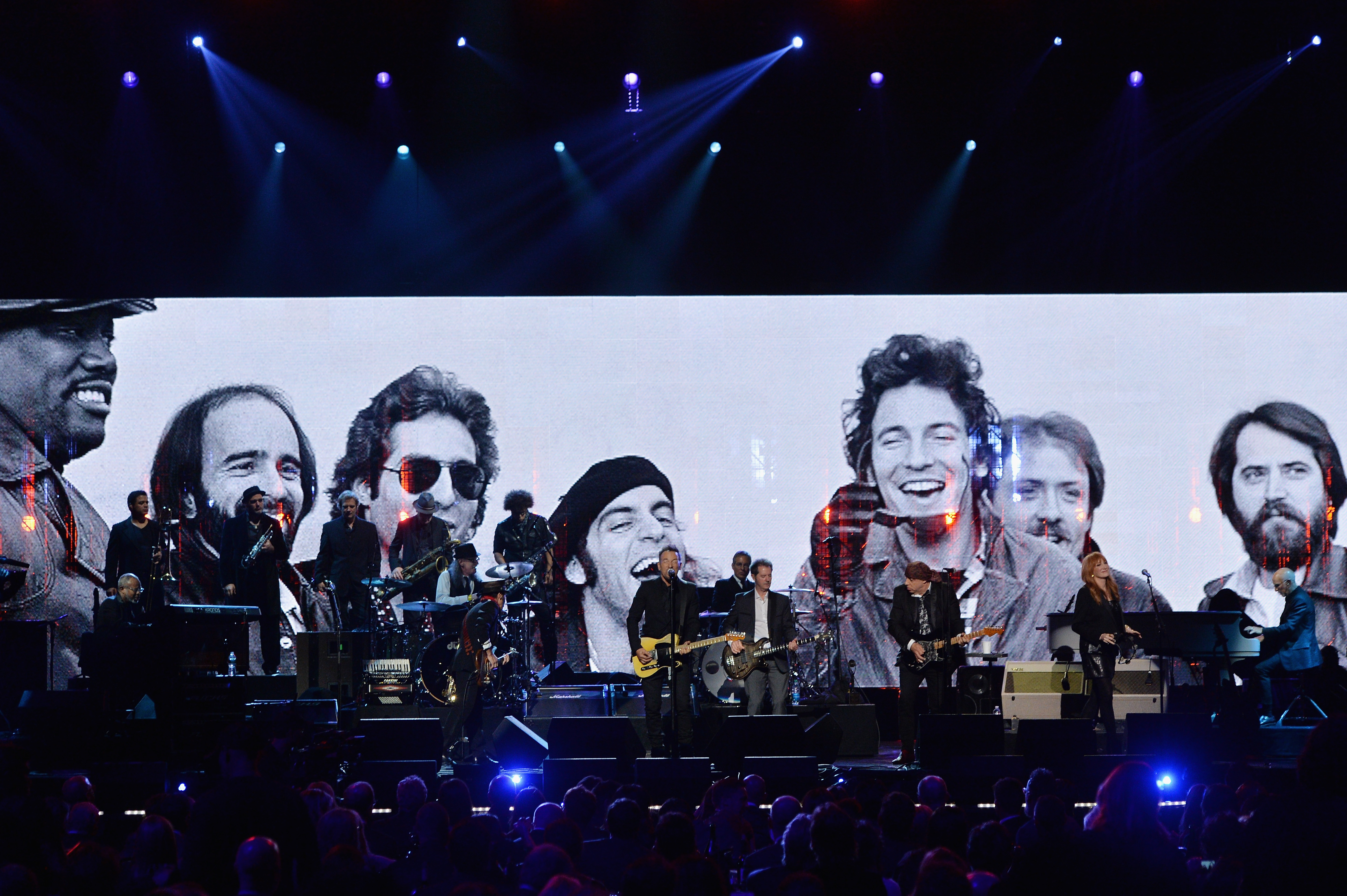 Performers onstage at the 29th Annual Rock And Roll Hall Of Fame Induction Ceremony at Barclays Center of Brooklyn on April 10, 2014 in New York City.