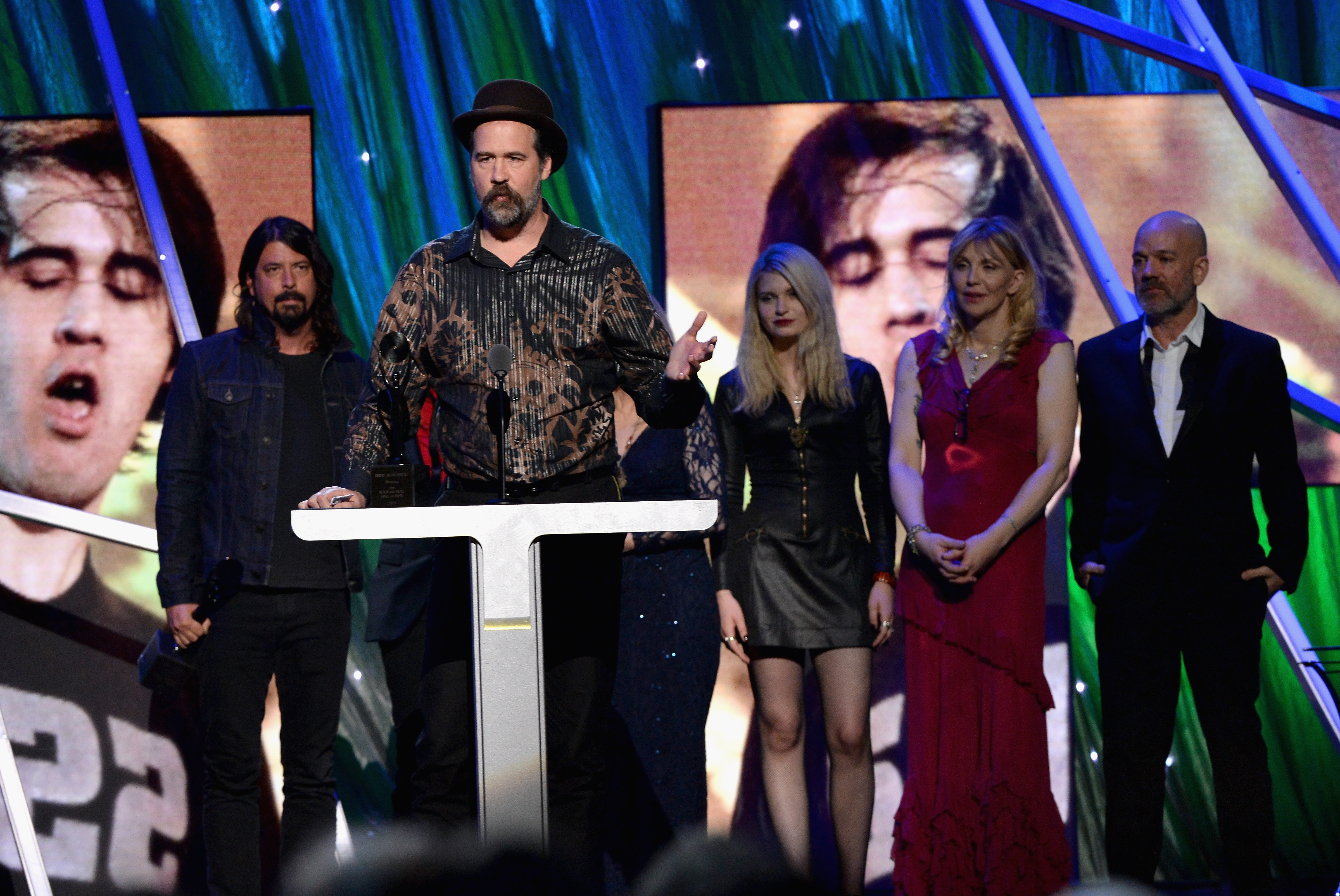 Krist Novoselic of Nirvana speaks onstage at the 29th Annual Rock And Roll Hall Of Fame Induction Ceremony at Barclays Center of Brooklyn on April 10, 2014 in New York City.