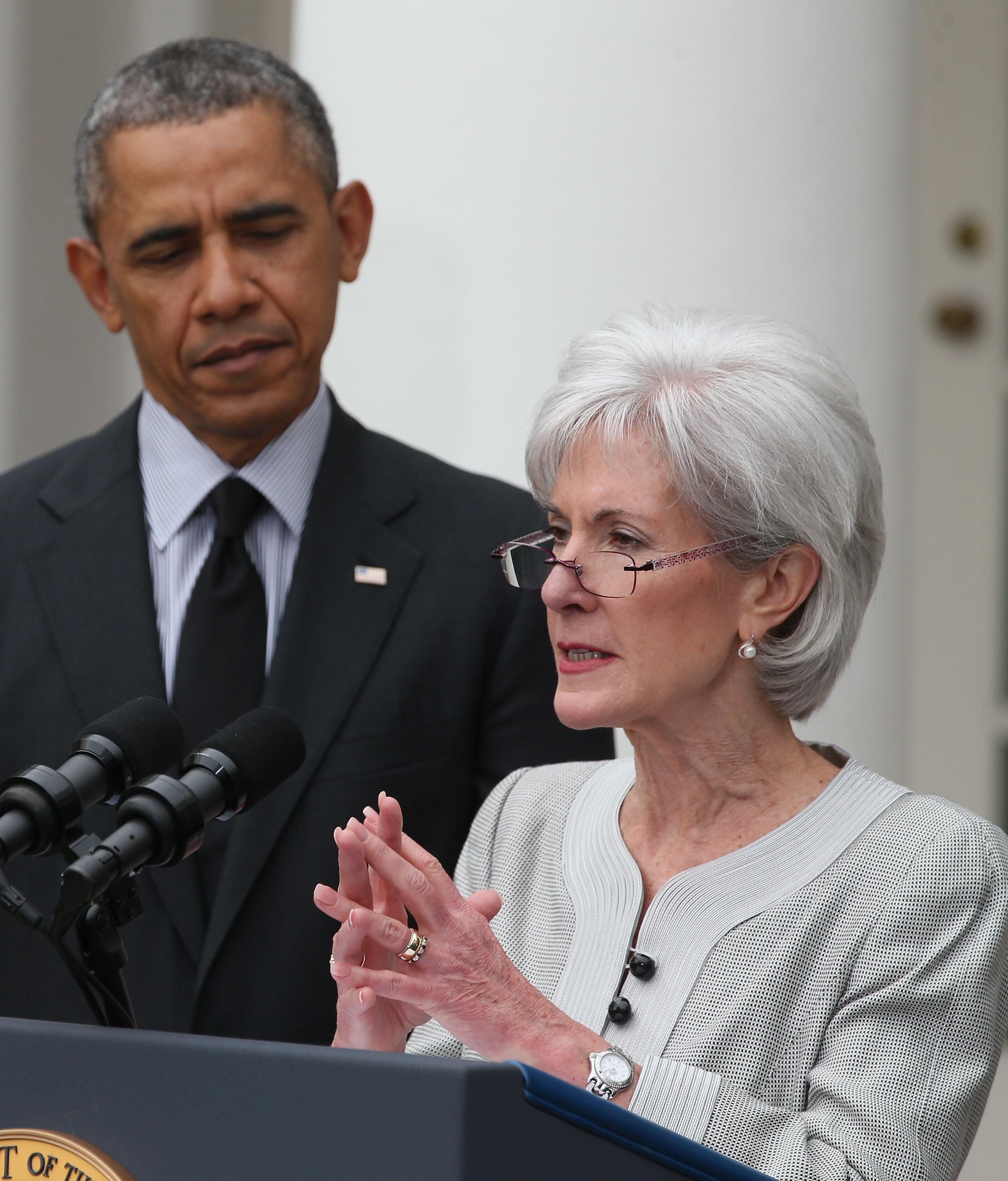 Secretary Kathleen Sebelius and President Obama on April 11, 2014 in Washington, DC.
