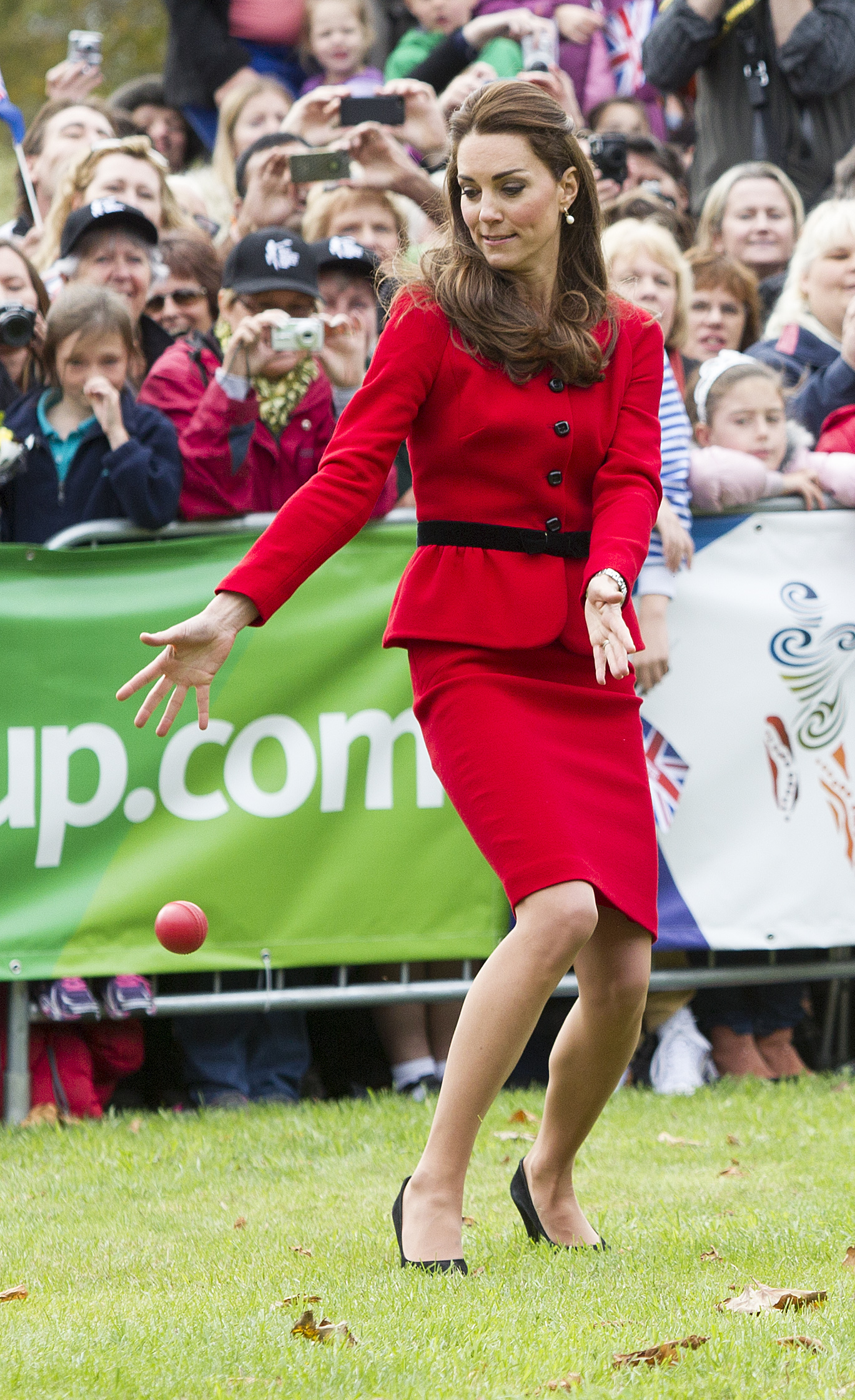 The Duke and Duchess of Cambridge travel to Christchurch, New Zealand and played cricket with local children. Photograph by Ian Jones ©2014.