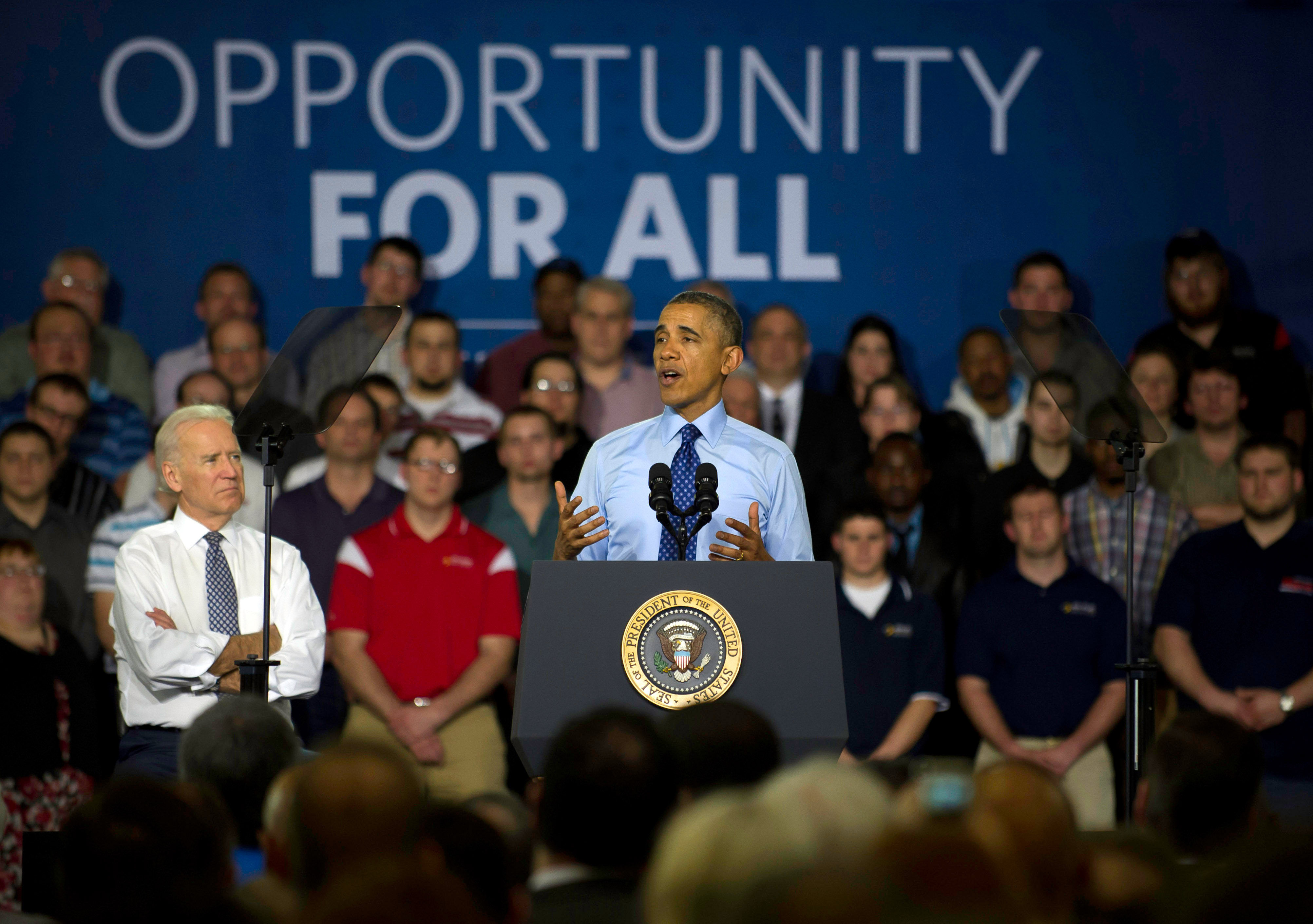 President Barack Obama and Vice President Joe Biden speak to guests at the Community College of Allegheny County on April 16, 2014 in Oakdale, Pa.