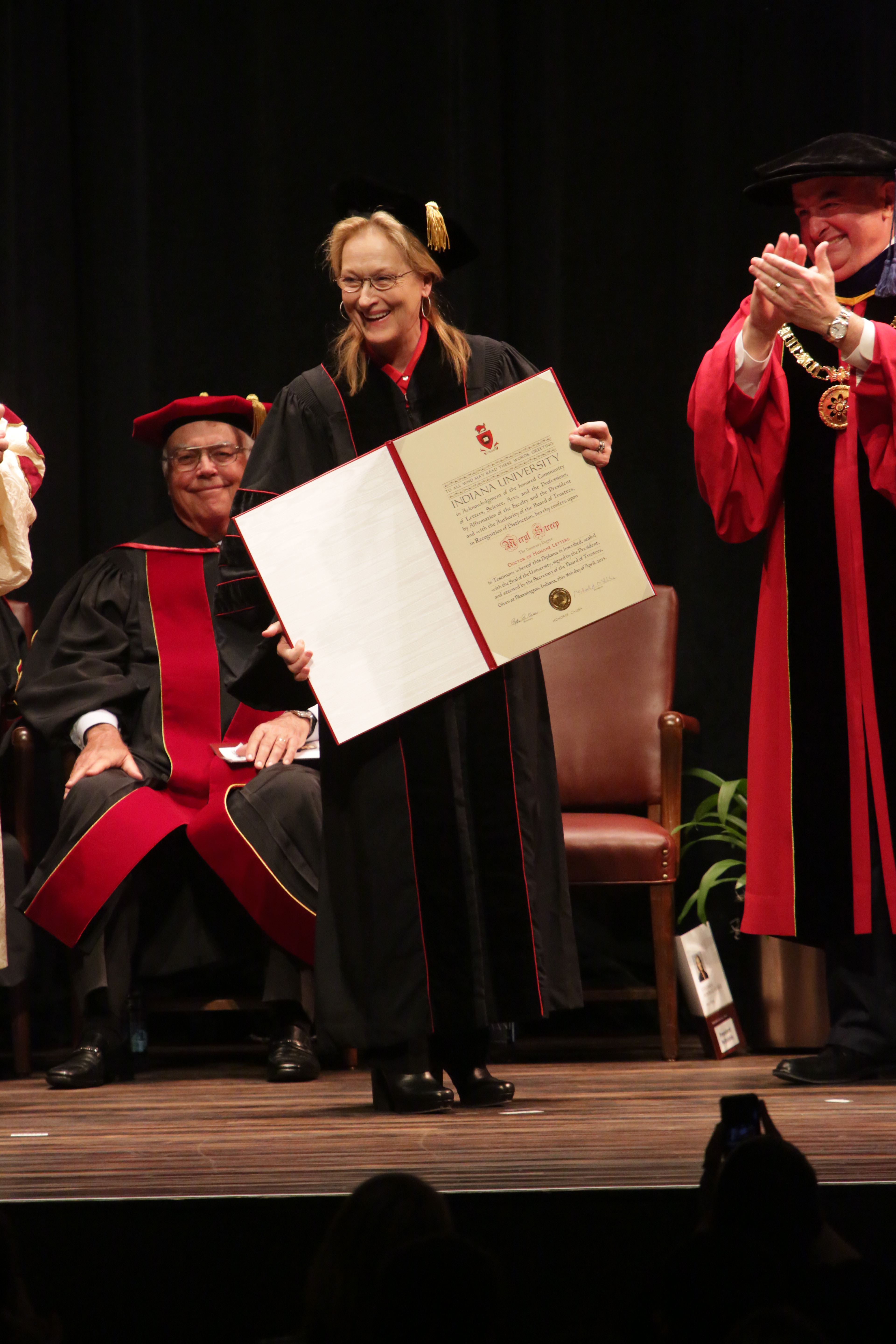 Meryl Streep receives a Conferral Honorary Degree from Indiana University on April 16, 2014 in Bloomington, Indiana.