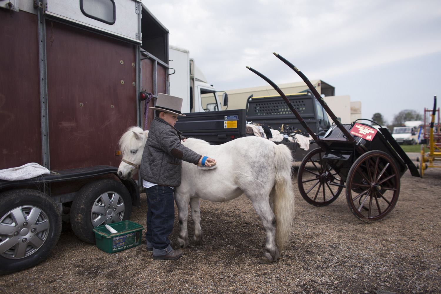 Donny McDermott, 6, grooms his Shetland pony before taking part in the annual 'London Harness Horse Parade' on April 21, 2014 in Ardingly, England.