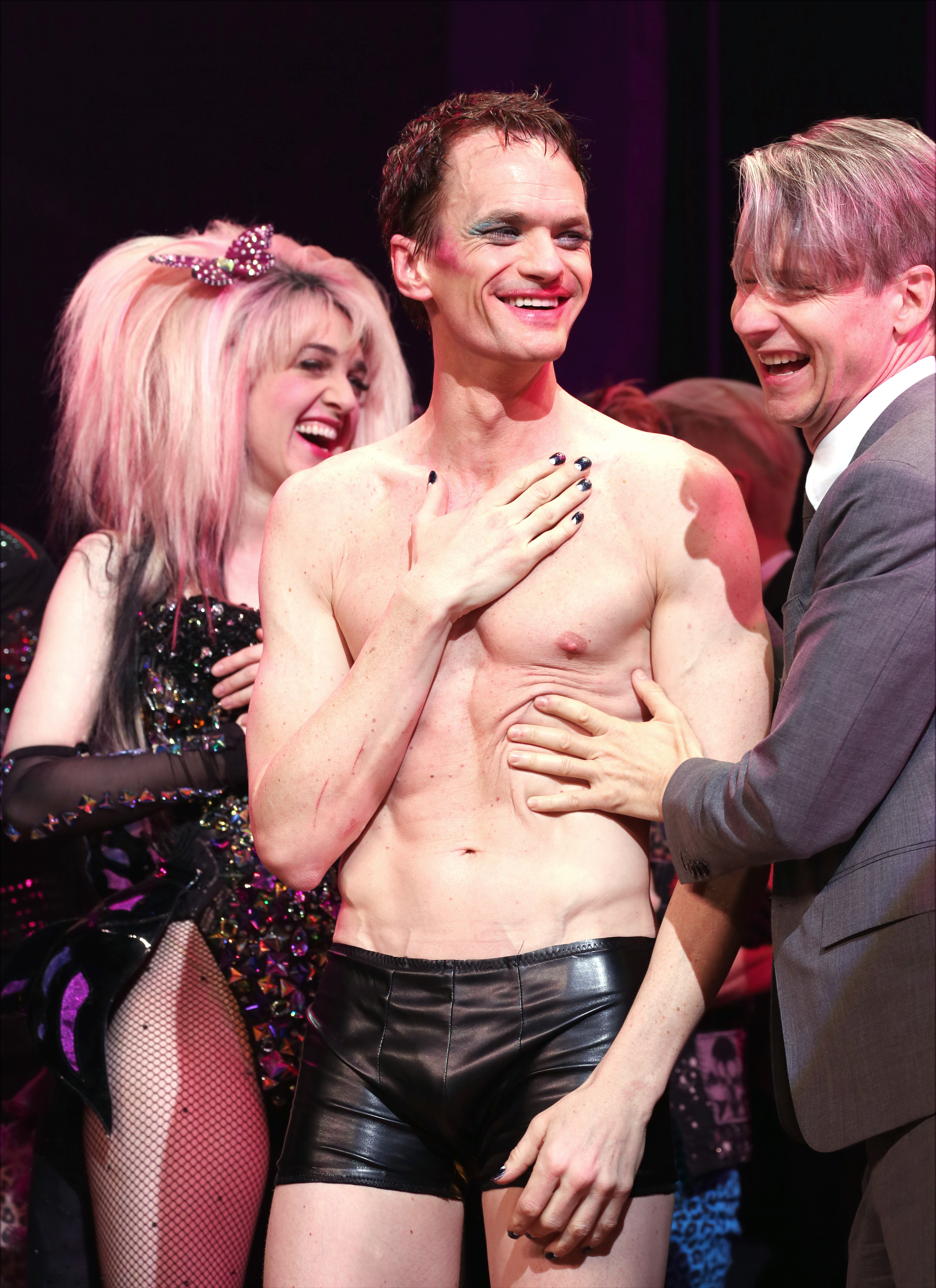 Lena Hall, Neil Patrick Harris and John Cameron Mitchell during the Broadway Opening Night Performance Curtain Call for 'Hedwig and the Angry Inch' at the Belasco Theatre on April 22, 2014 in New York City.
