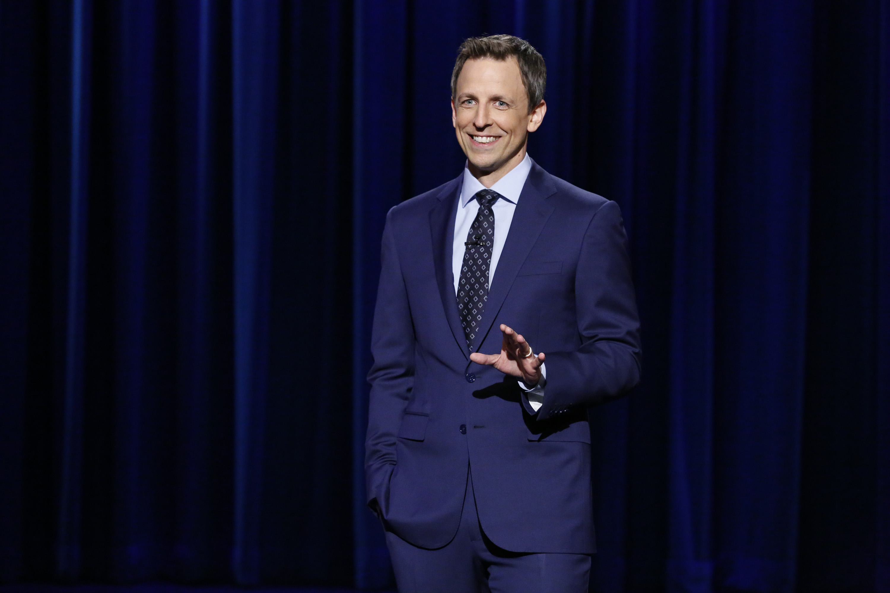 Host Seth Meyers during the Late Night monologue on April 24, 2014.